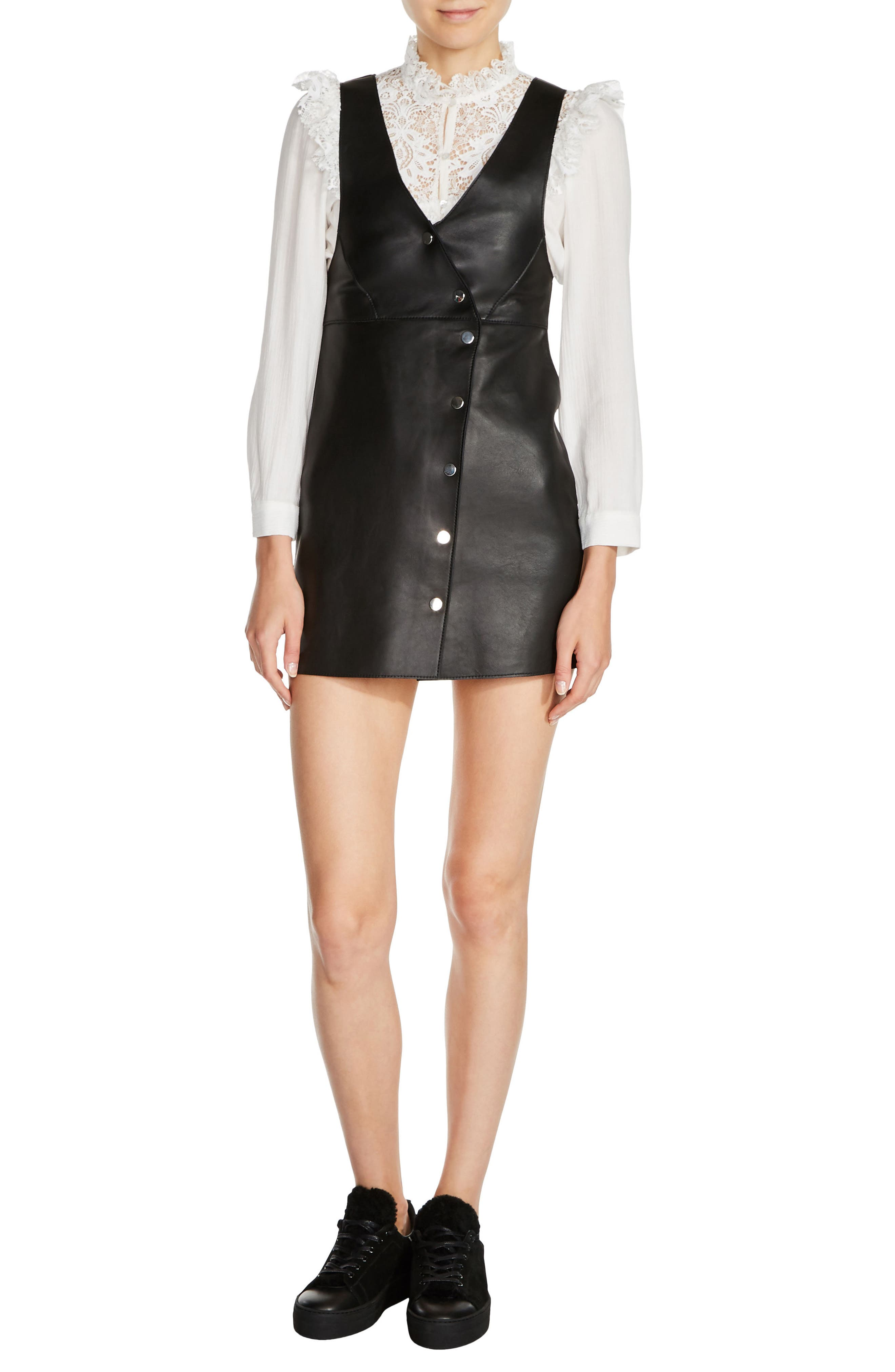 maje Button-Front Leather Minidress