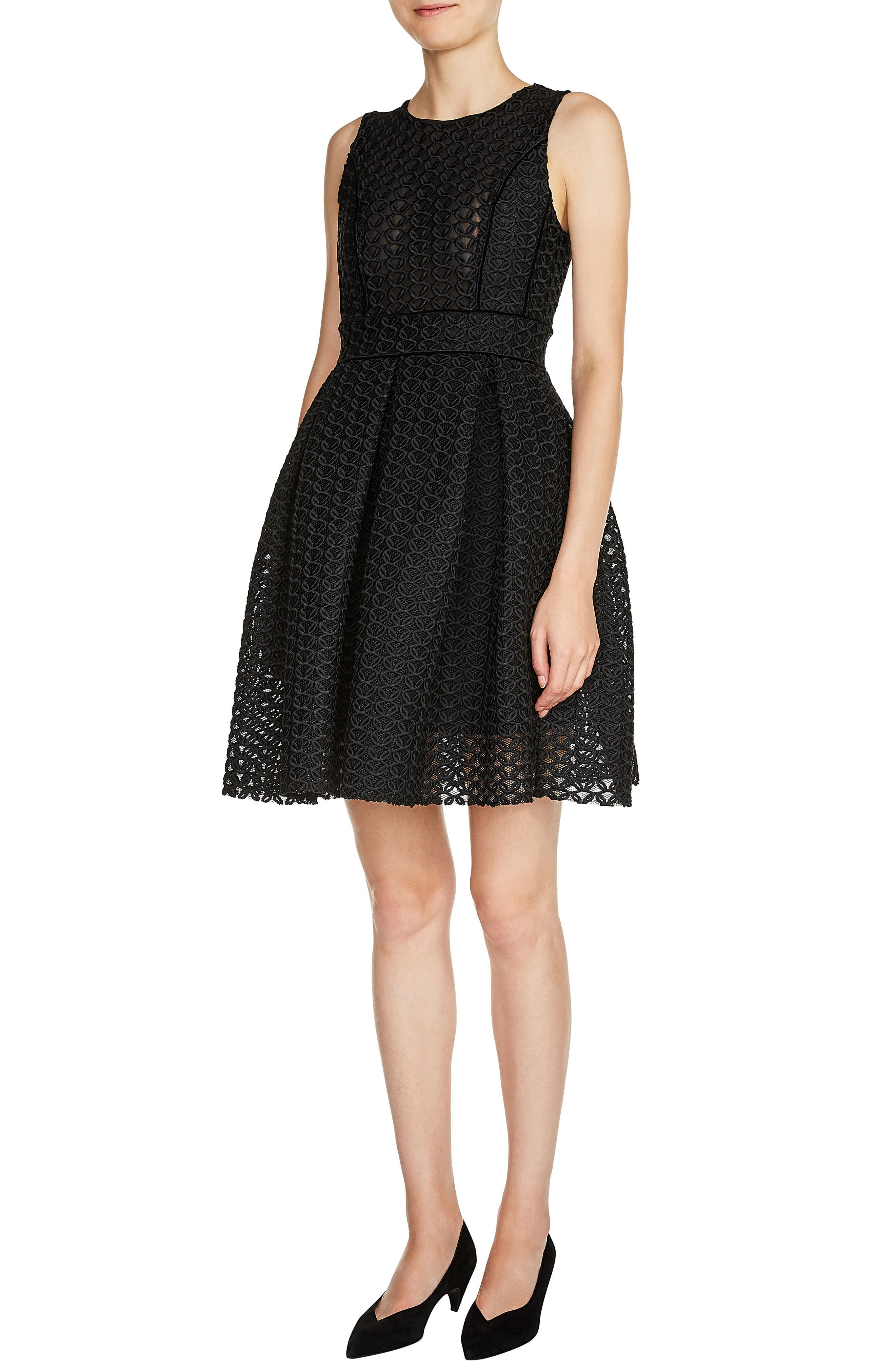 maje Knit Basket Guipure Lace Dress