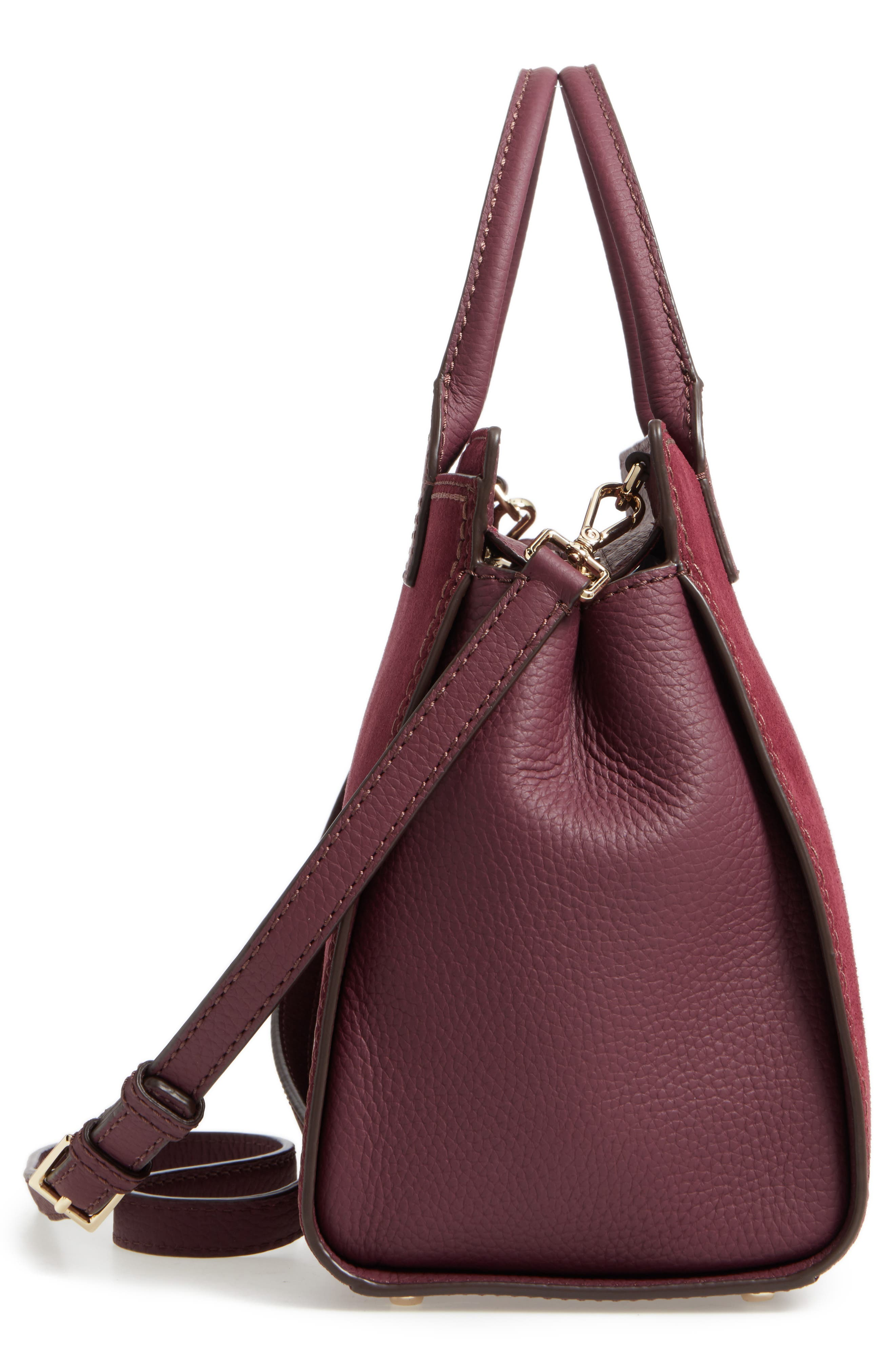 dunne lane lake suede satchel,                             Alternate thumbnail 5, color,                             Deep Wine