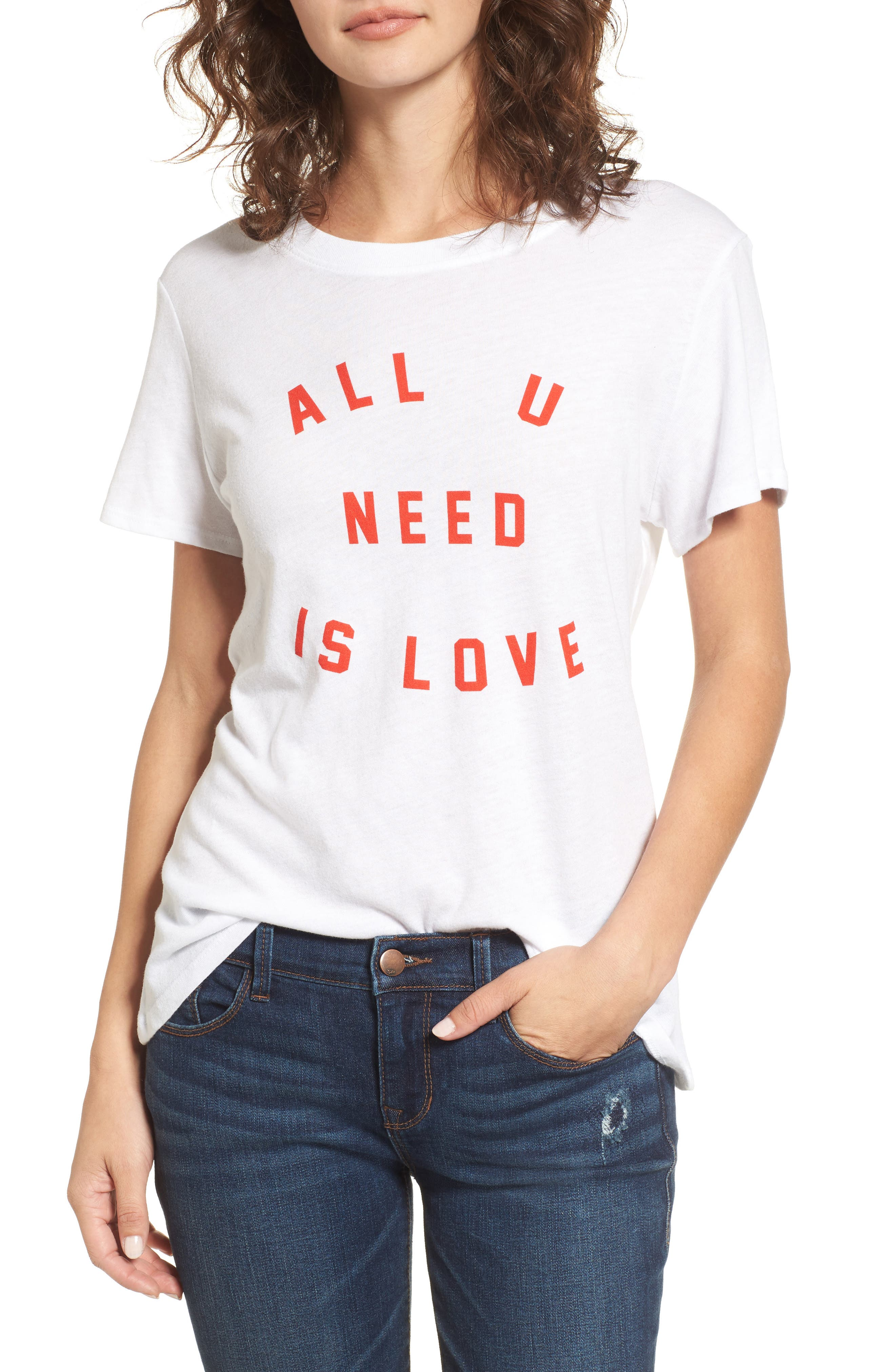 All U Need Is Love Graphic Tee,                             Main thumbnail 1, color,                             White