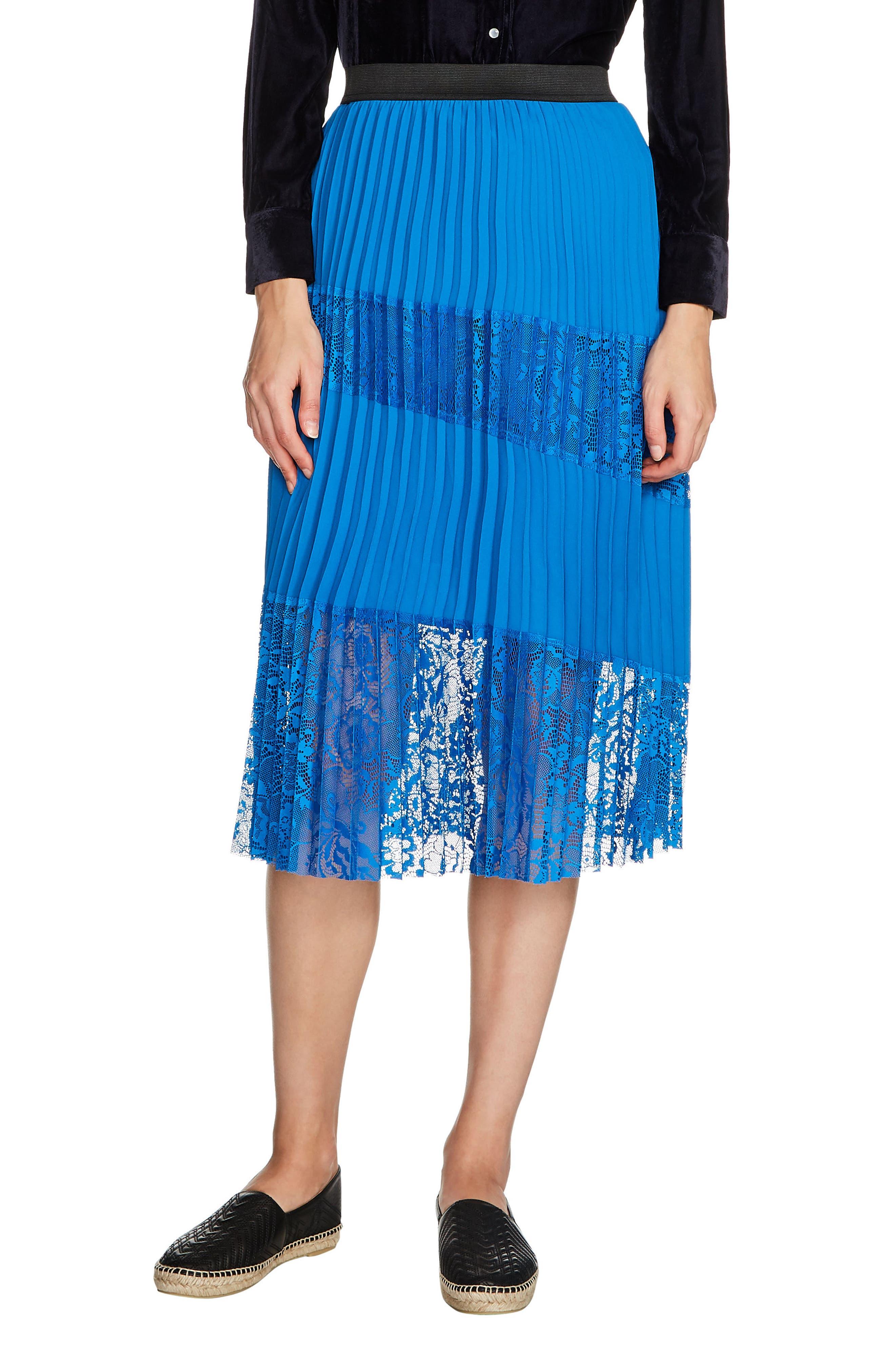 Jarane Lace Inset Pleated Midi Skirt,                             Main thumbnail 1, color,                             Bleu