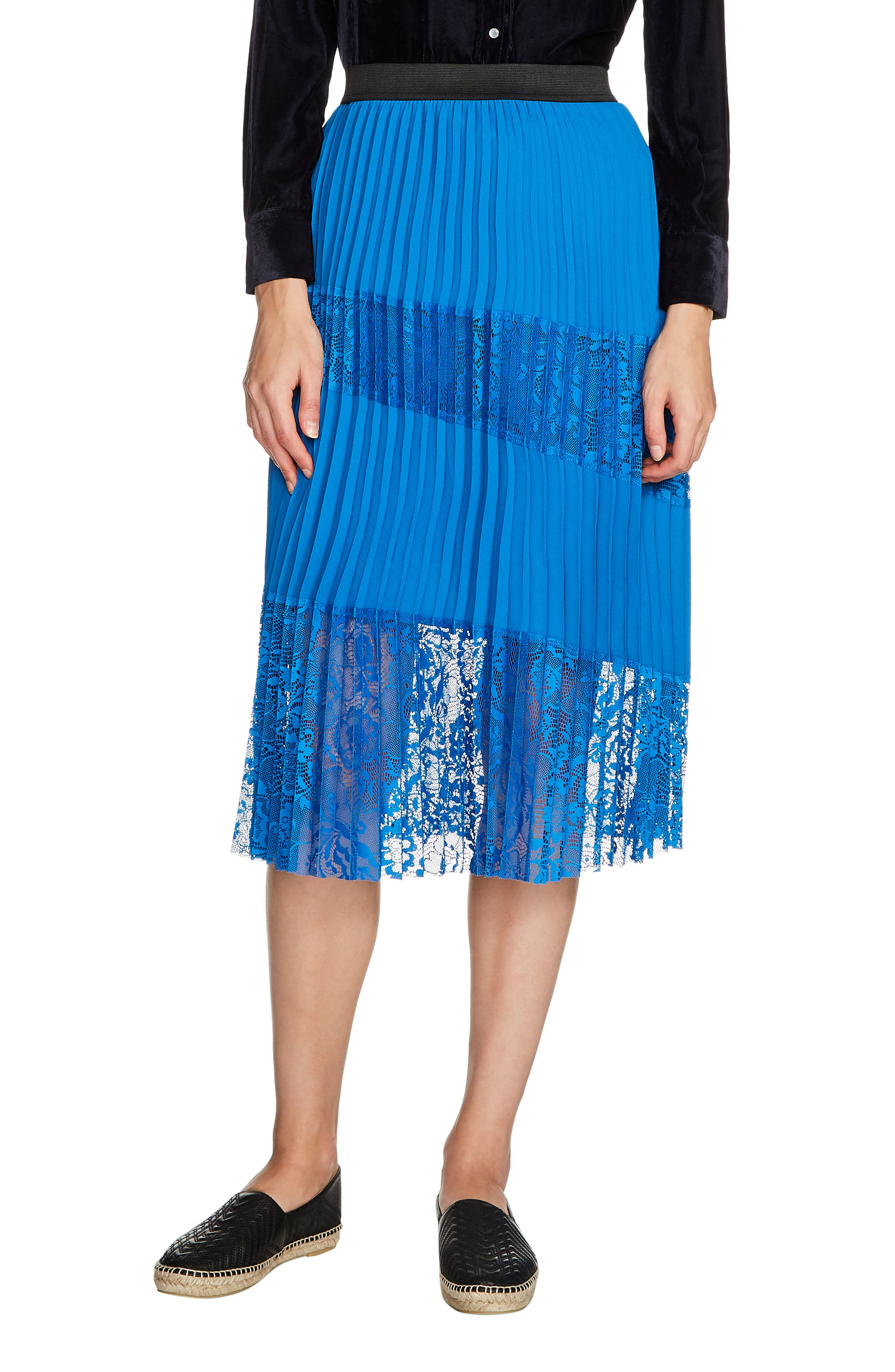 Jarane Lace Inset Pleated Midi Skirt,                         Main,                         color, Bleu