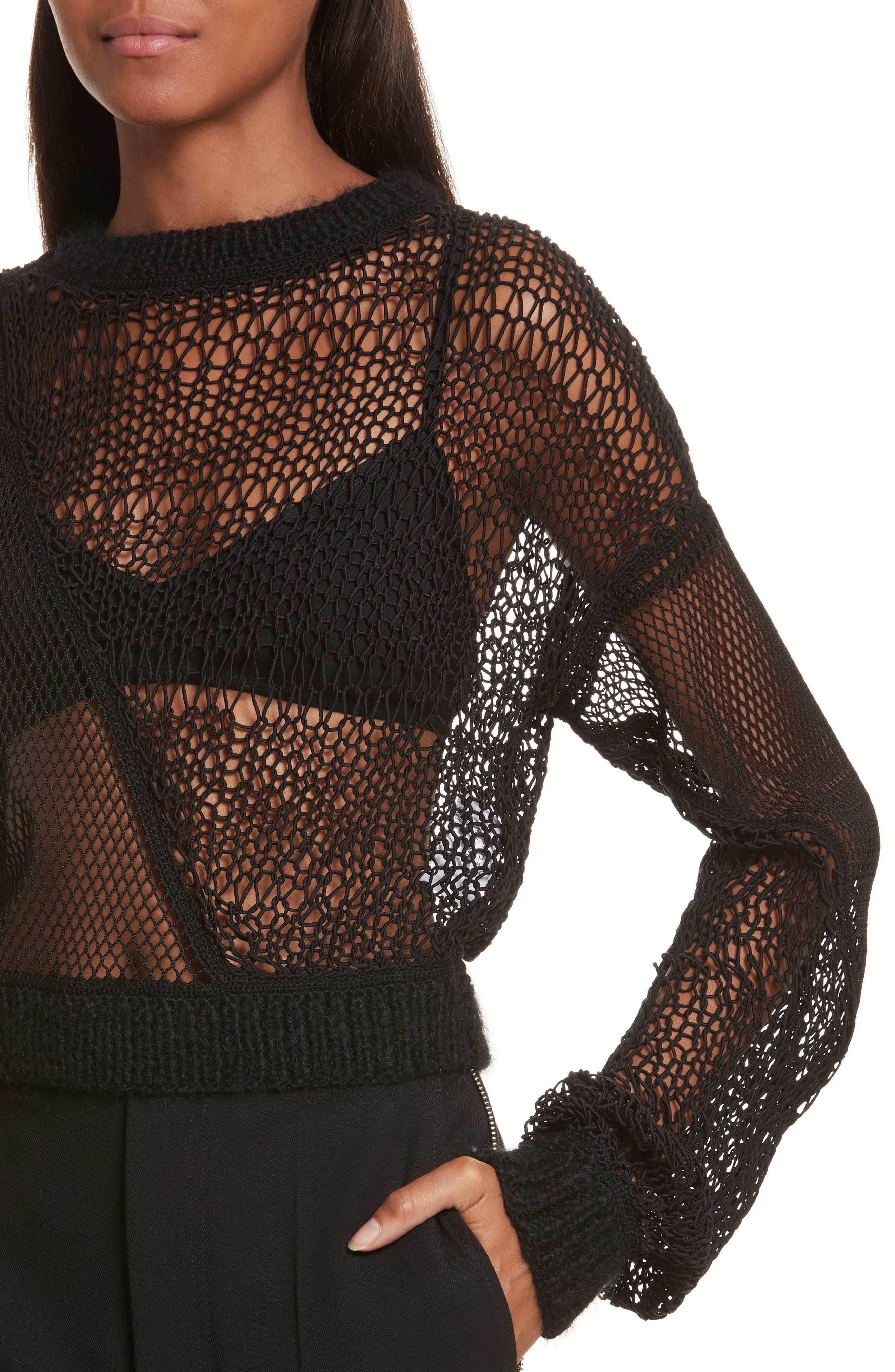 Siouxie Crew Fishnet Patchwork Sweater,                             Alternate thumbnail 4, color,                             Black