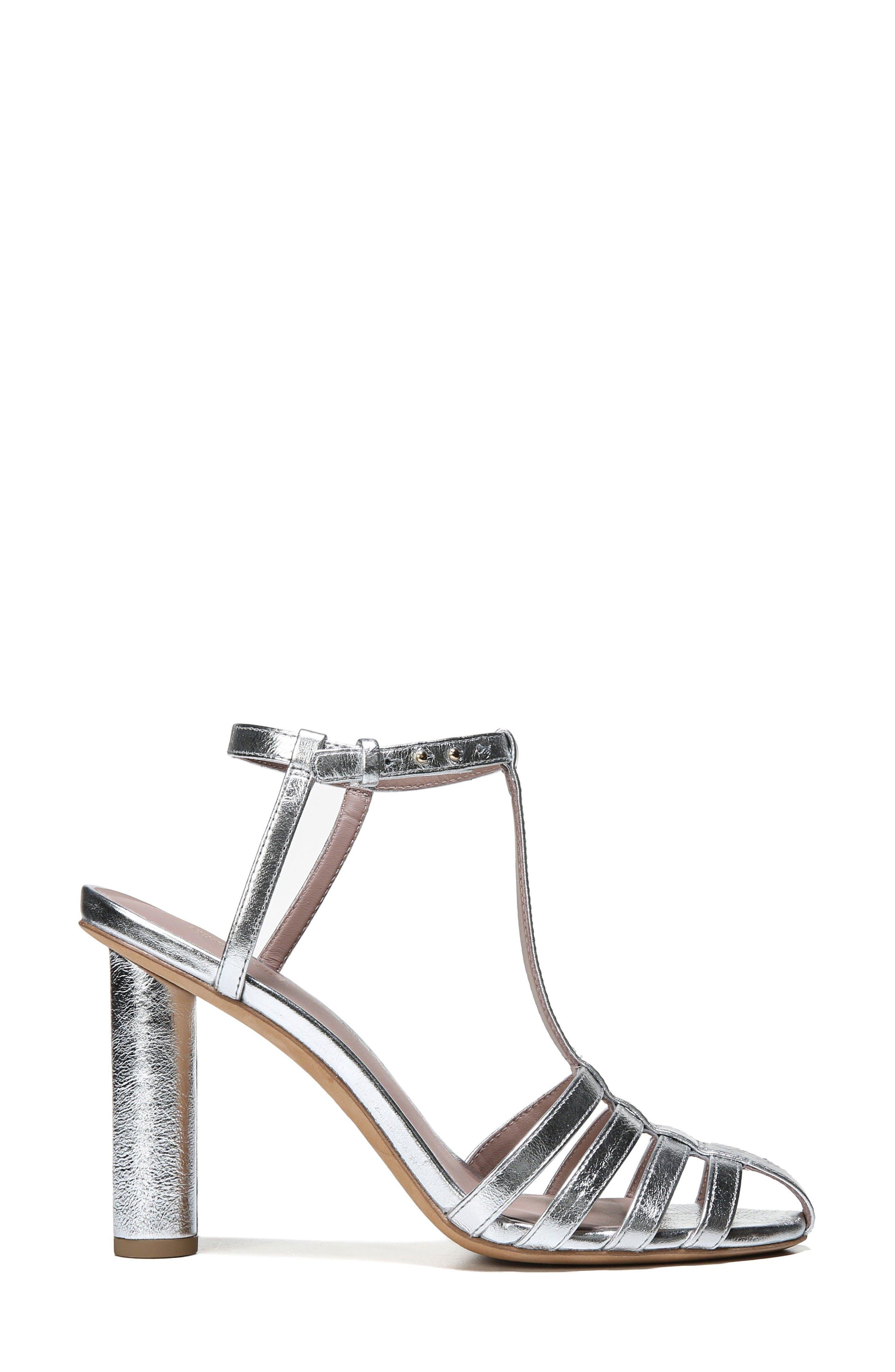 Eva T-Strap Sandal,                             Alternate thumbnail 3, color,                             Metallic Silver