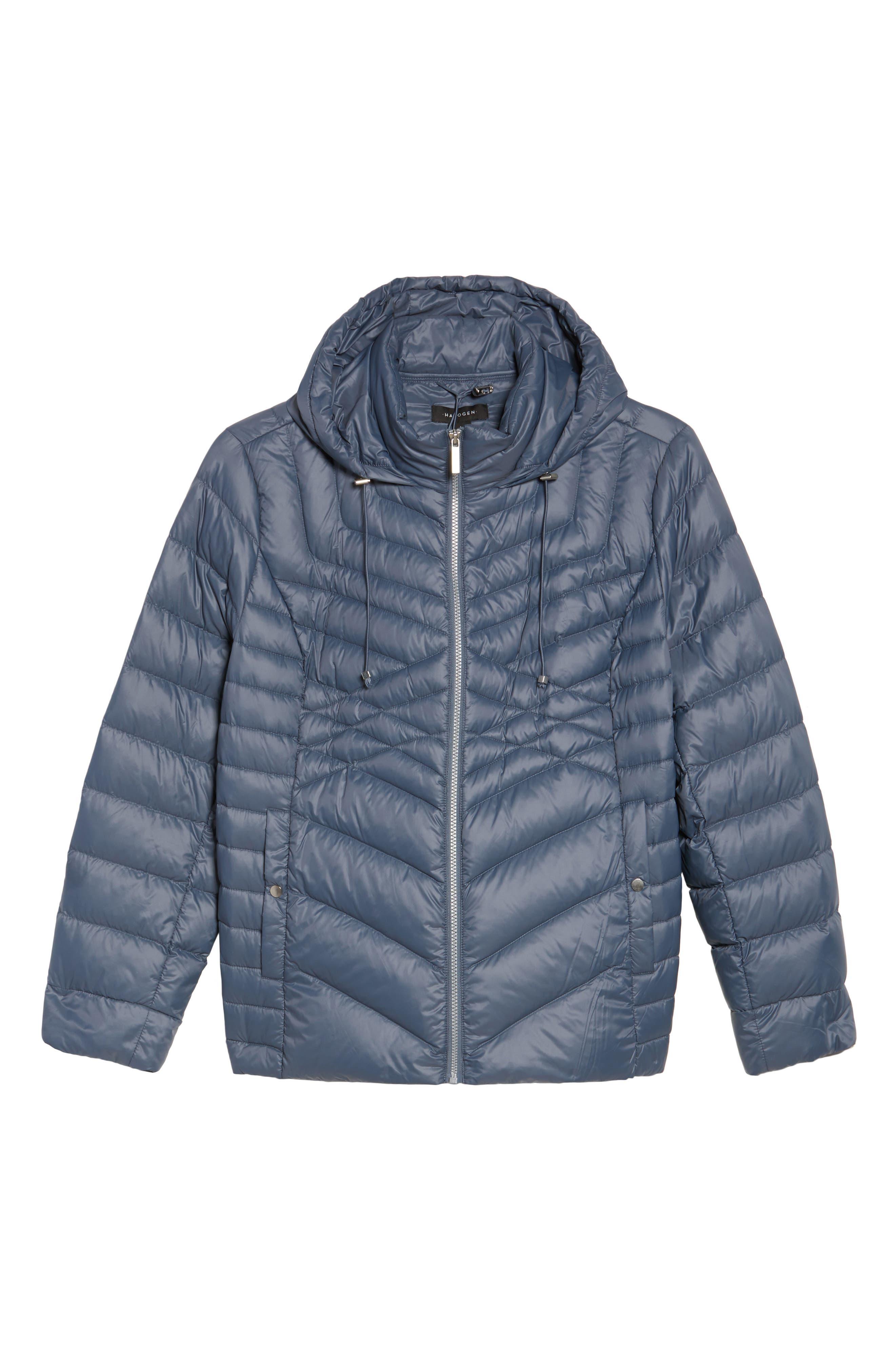 Alternate Image 5  - Halogen® Hooded Down Blend Puffer Jacket (Plus Size)
