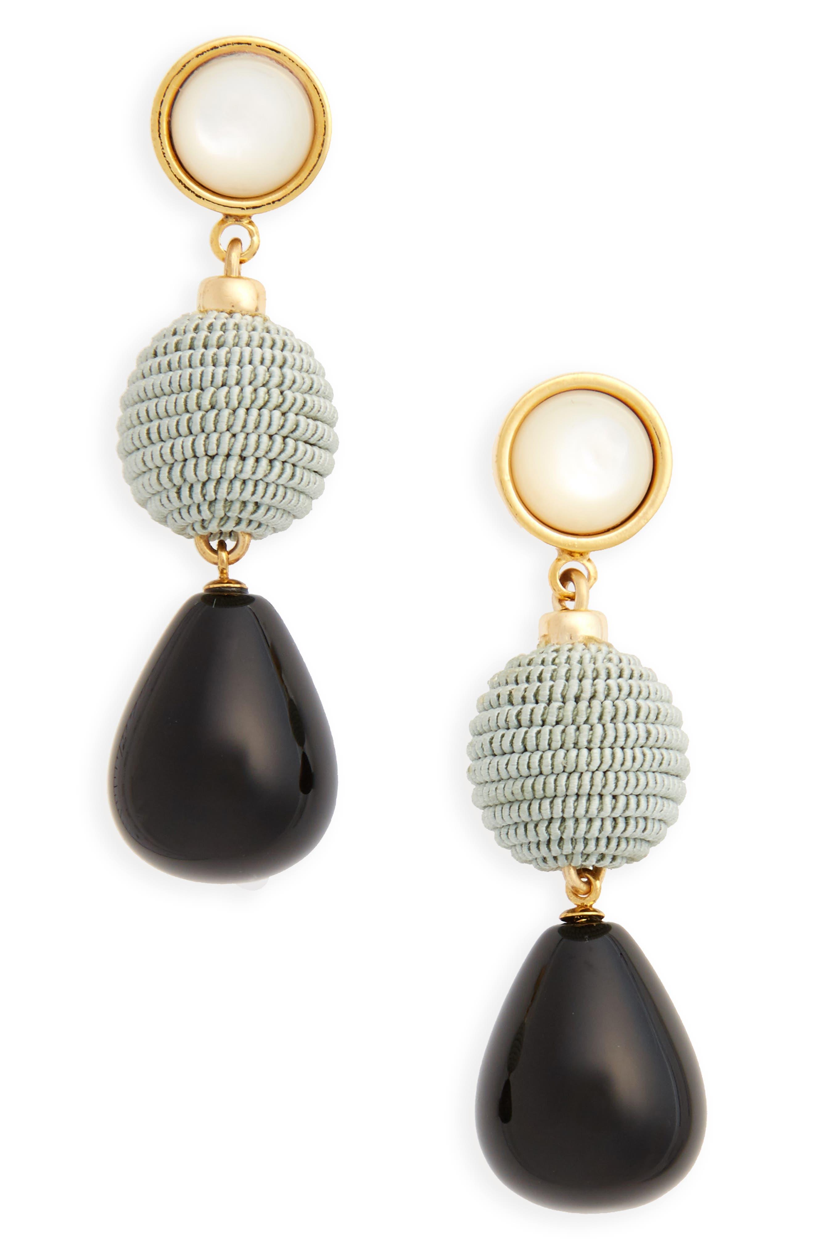Agate Drop Earrings,                         Main,                         color, Black