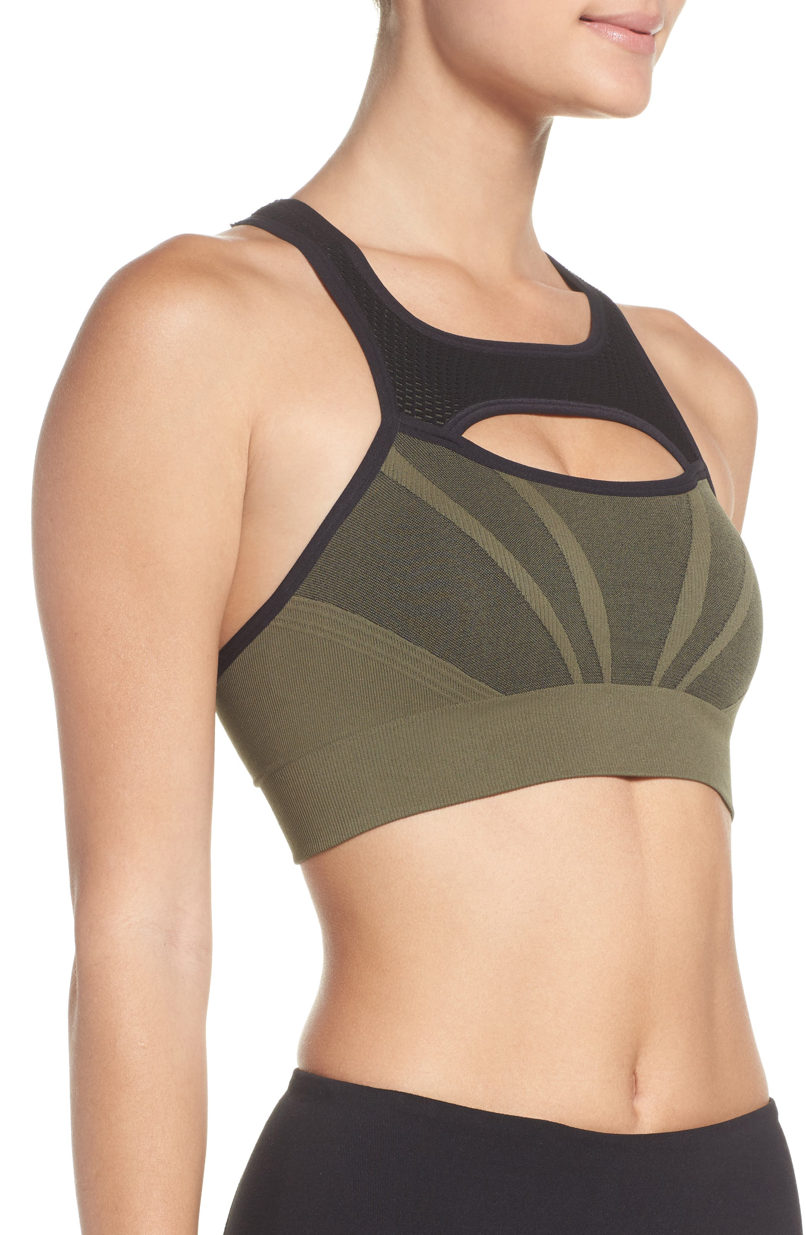 Charge Sports Bra,                             Alternate thumbnail 3, color,                             Olive Night