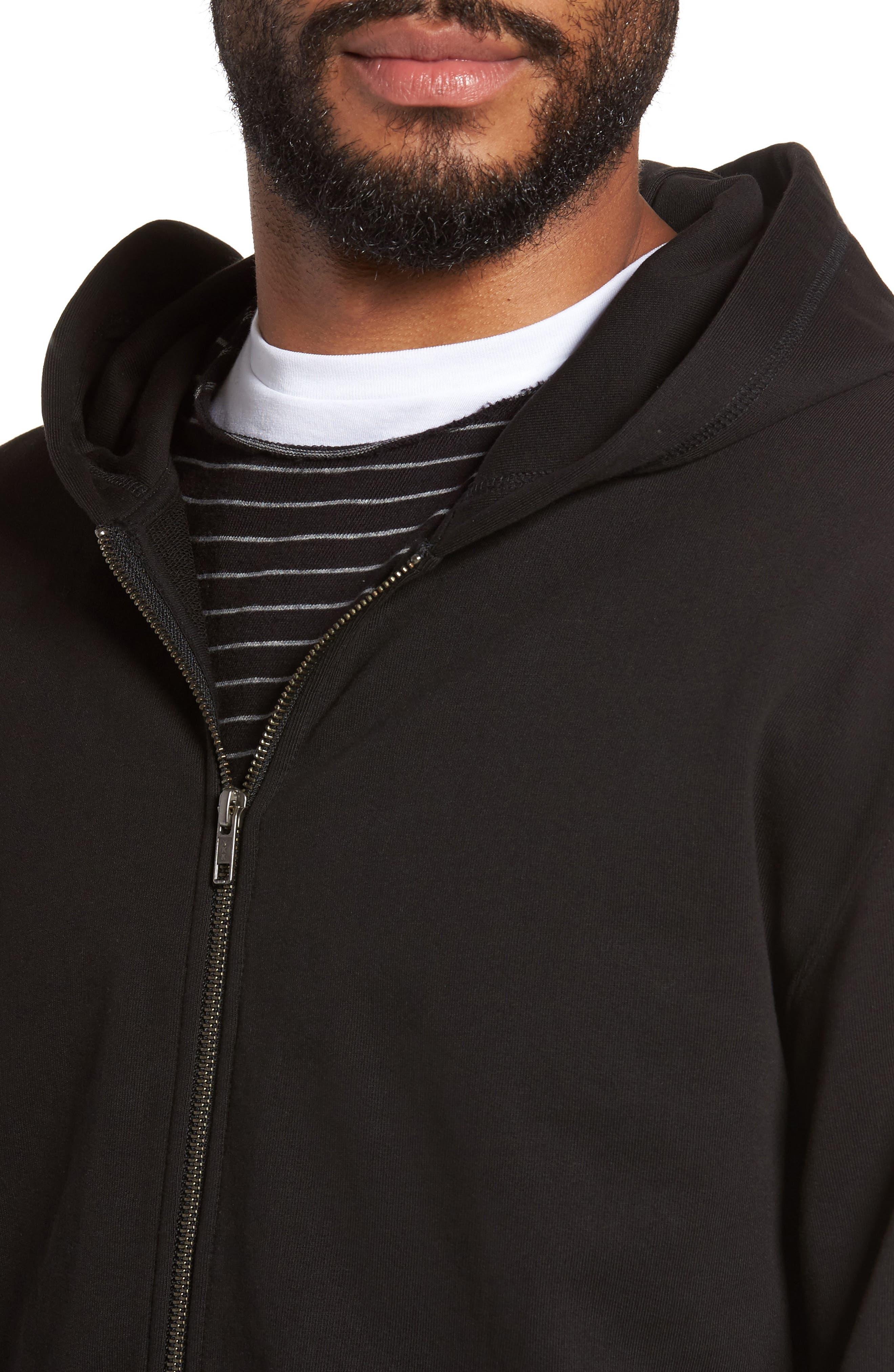 Zip Hoodie,                             Alternate thumbnail 4, color,                             Black
