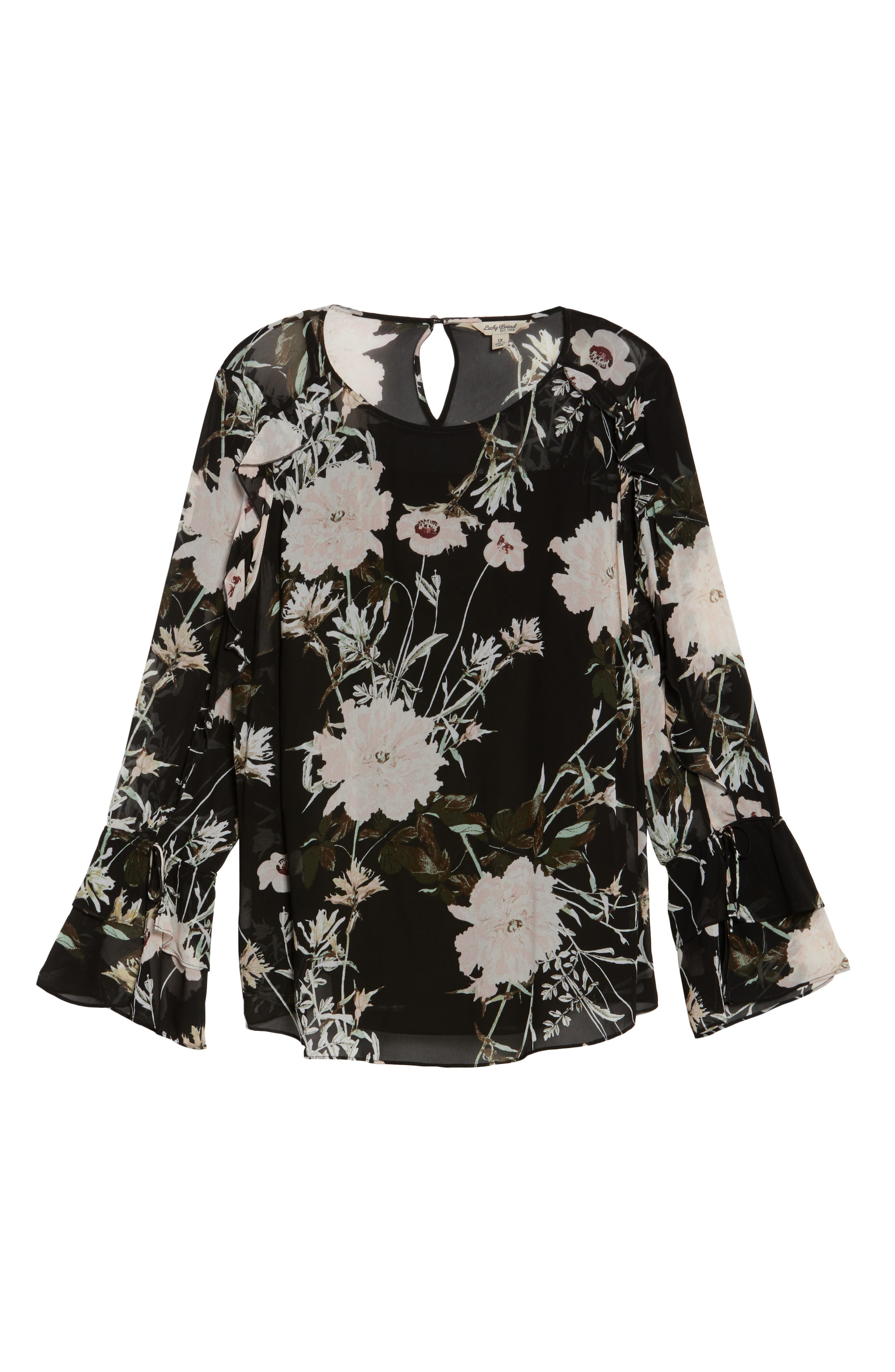 Floral Print Bell Sleeve Top,                             Alternate thumbnail 6, color,                             Black Multi