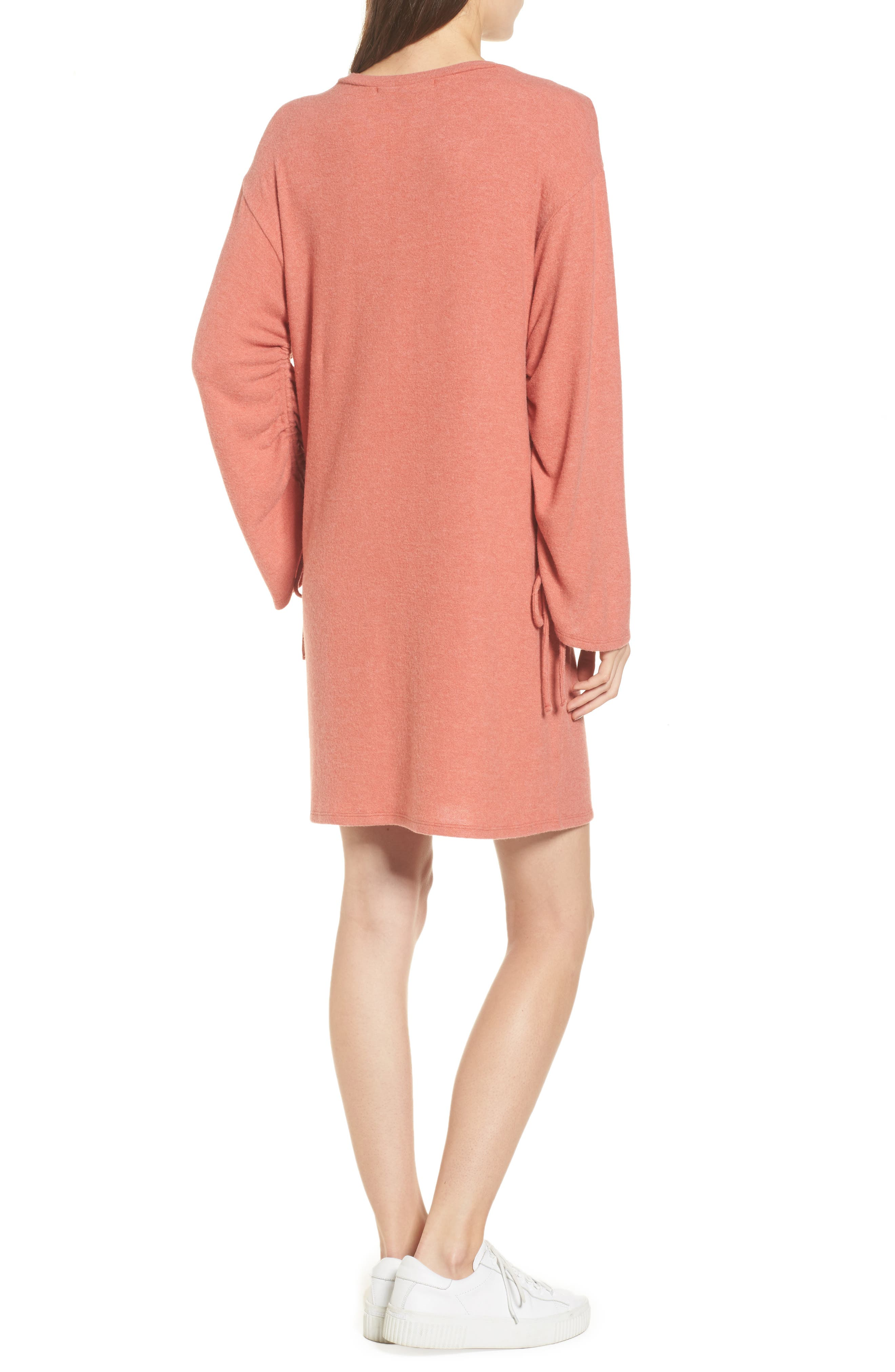 Ruched Sleeve Sweater Dress,                             Alternate thumbnail 2, color,                             Paprika