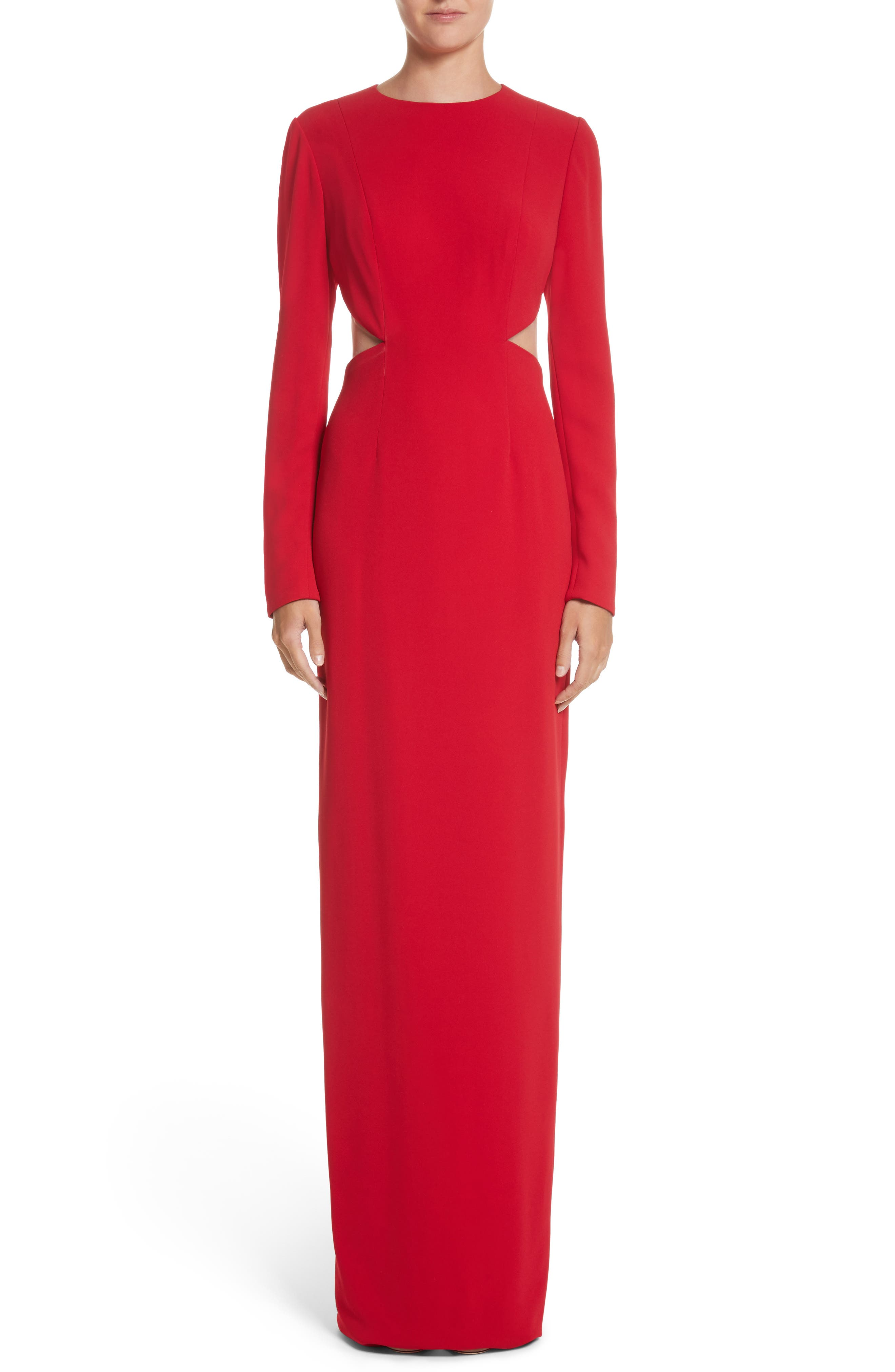 Illusion Back Stretch Crepe Gown,                             Main thumbnail 1, color,                             Red