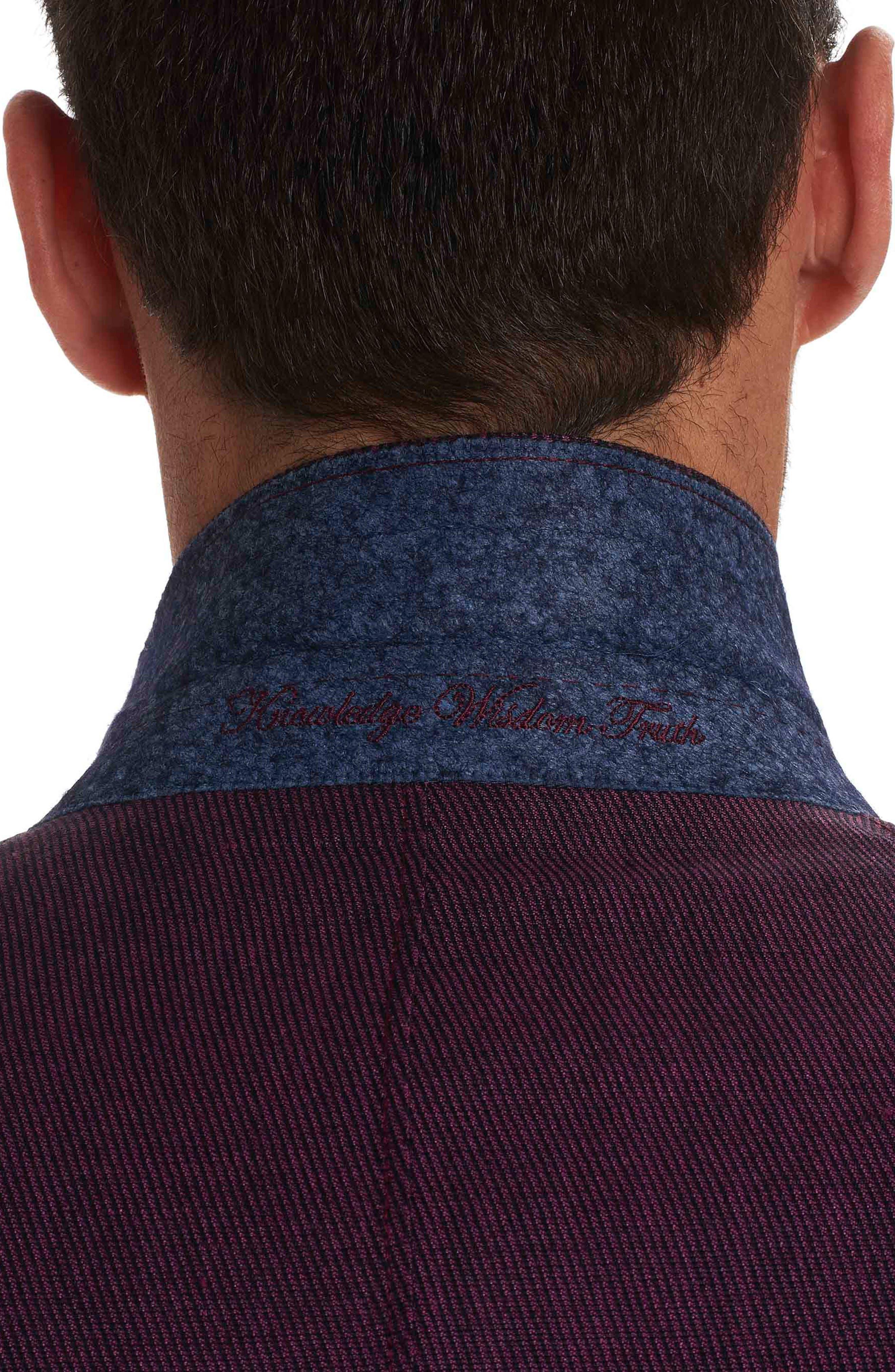 On the Road Linen & Wool Jacket,                             Alternate thumbnail 3, color,                             Raspberry