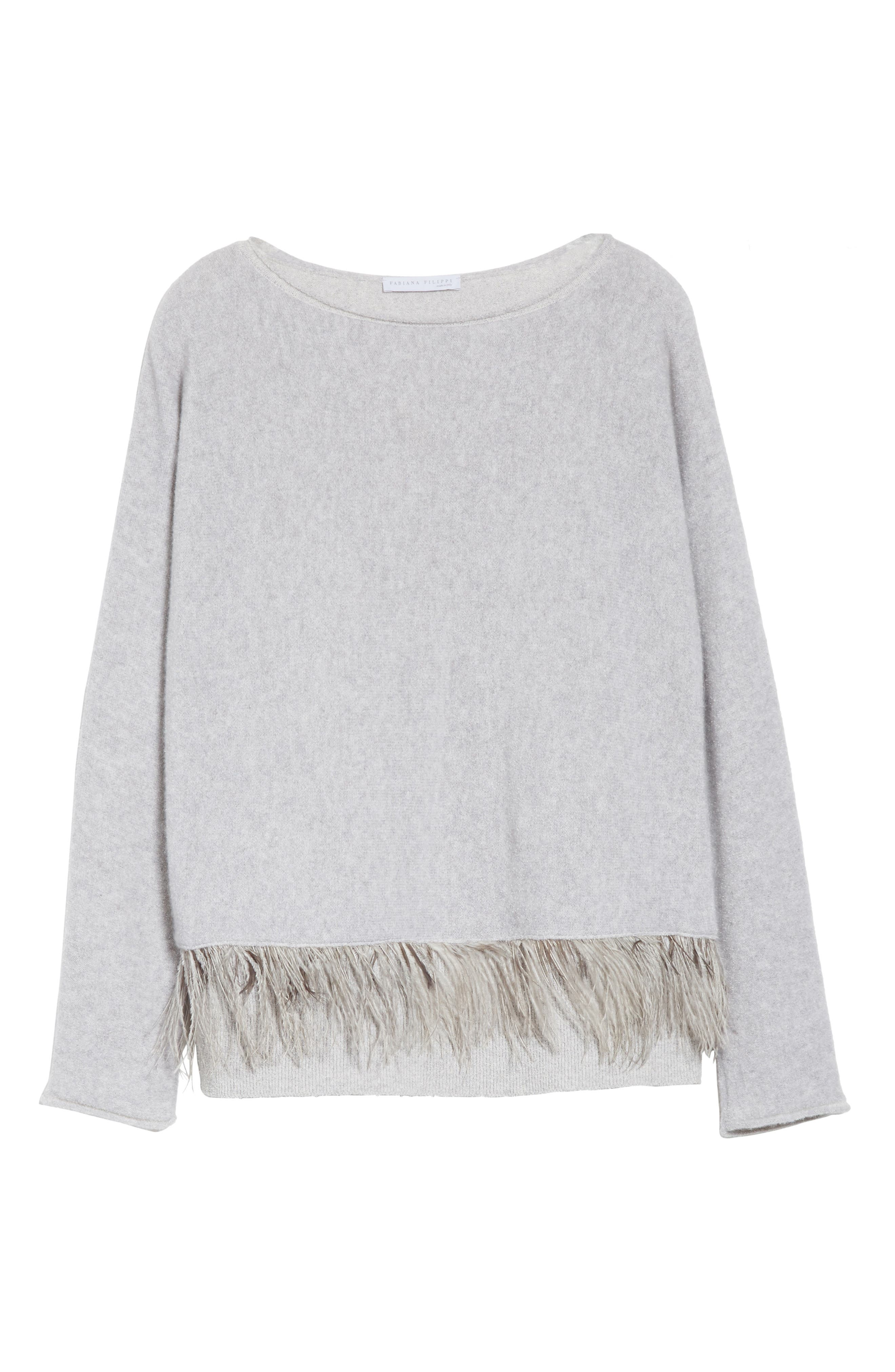 Cashmere Blend Sweater with Genuine Ostrich & Turkey Feather Trim,                             Alternate thumbnail 7, color,                             Grey