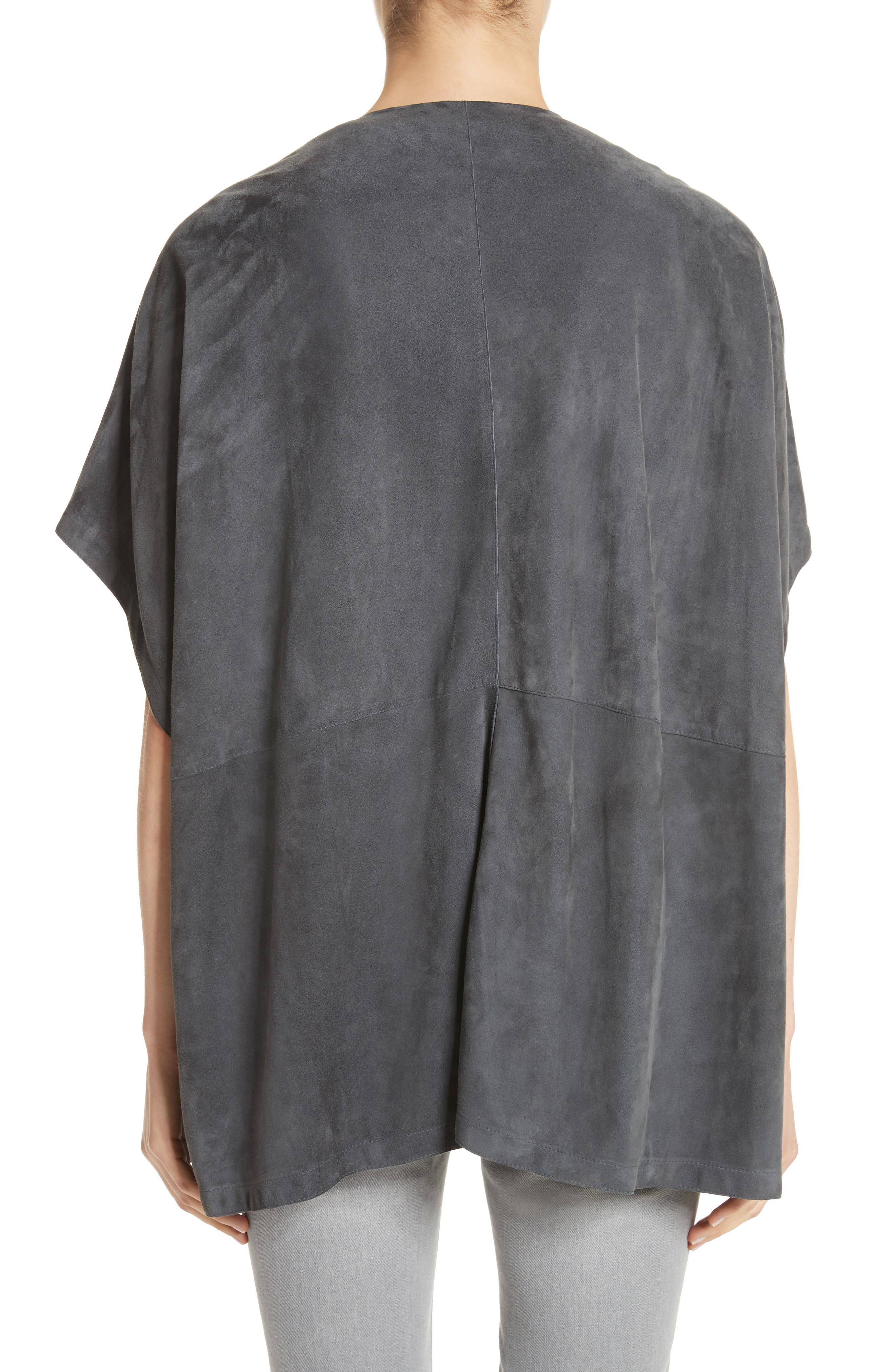 Beaded Suede Poncho,                             Alternate thumbnail 3, color,                             Slate