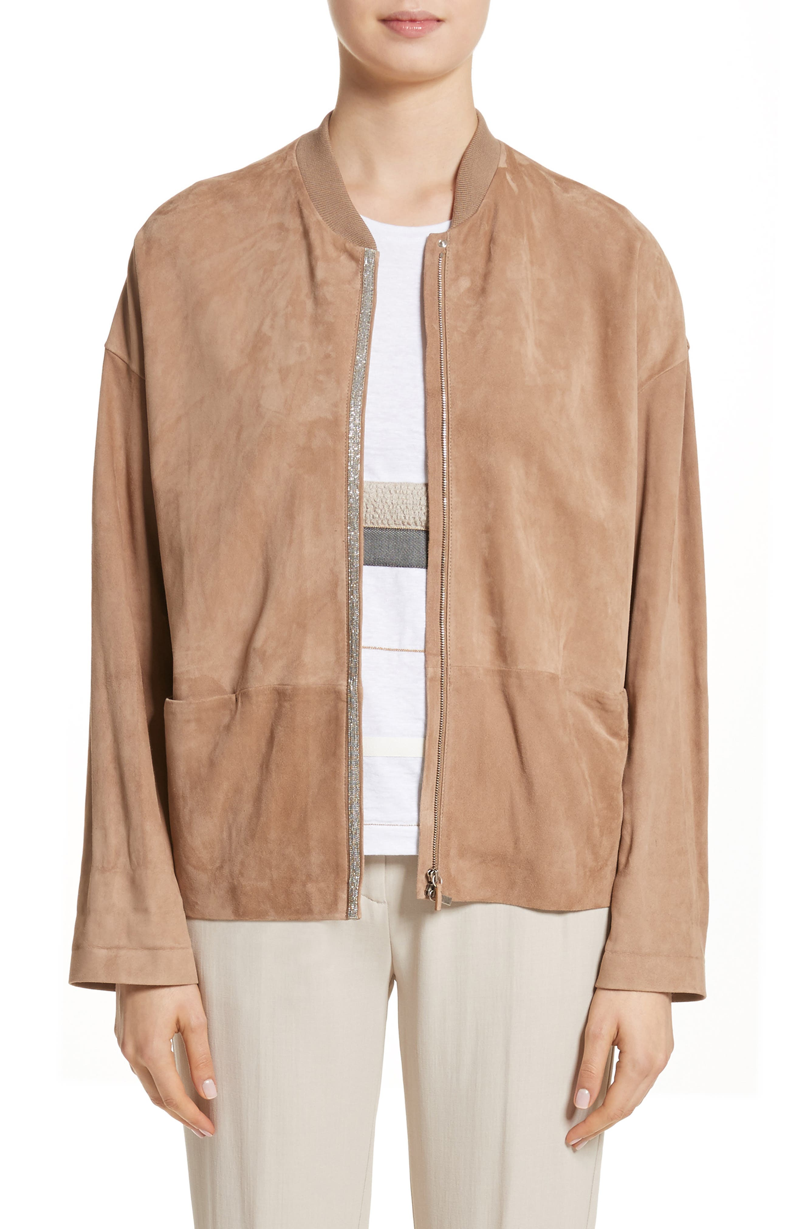 Beaded Suede Jacket,                         Main,                         color, Camel