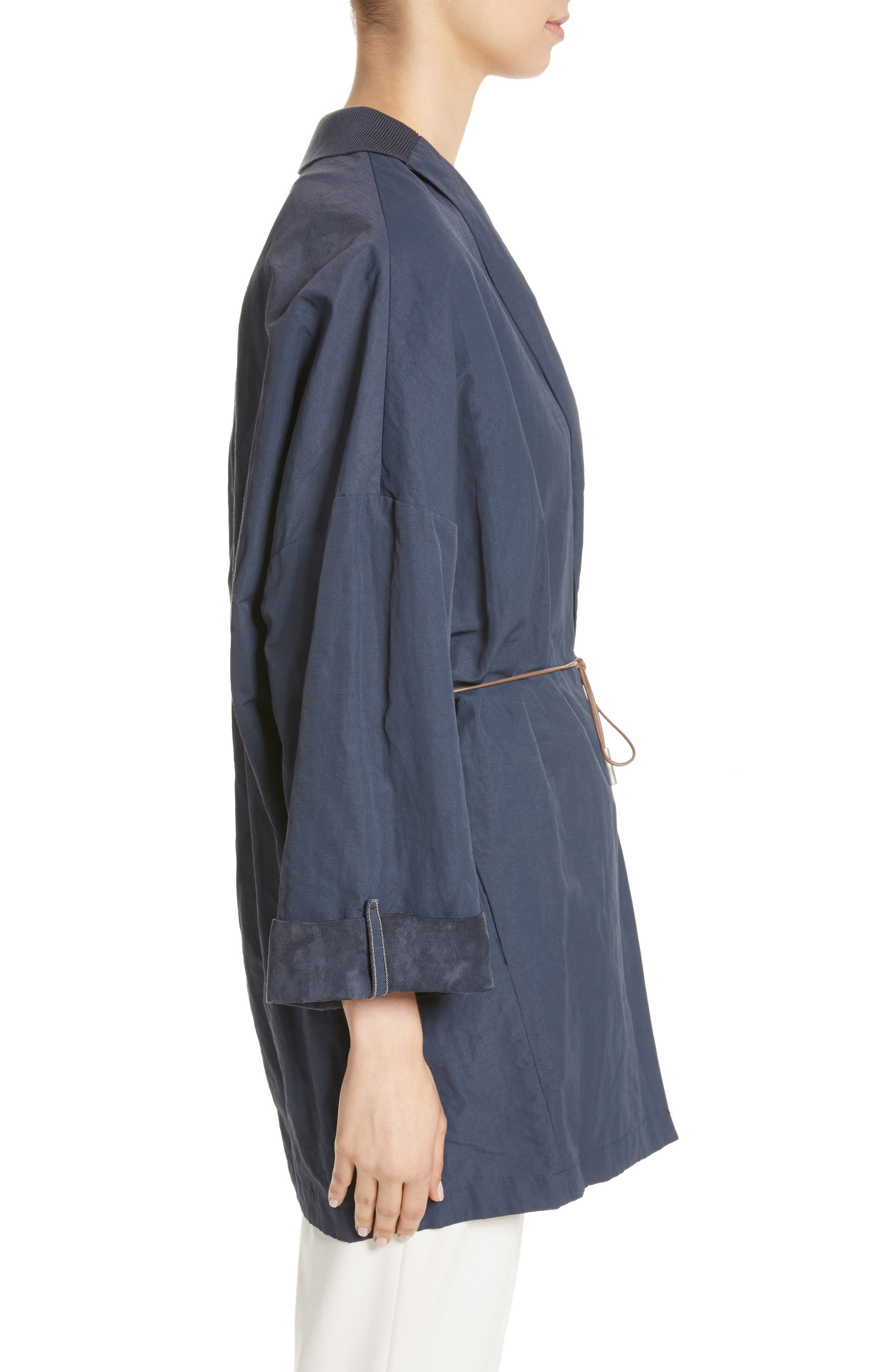 Suede & Cotton Blend Kimono Jacket,                             Alternate thumbnail 4, color,                             Navy