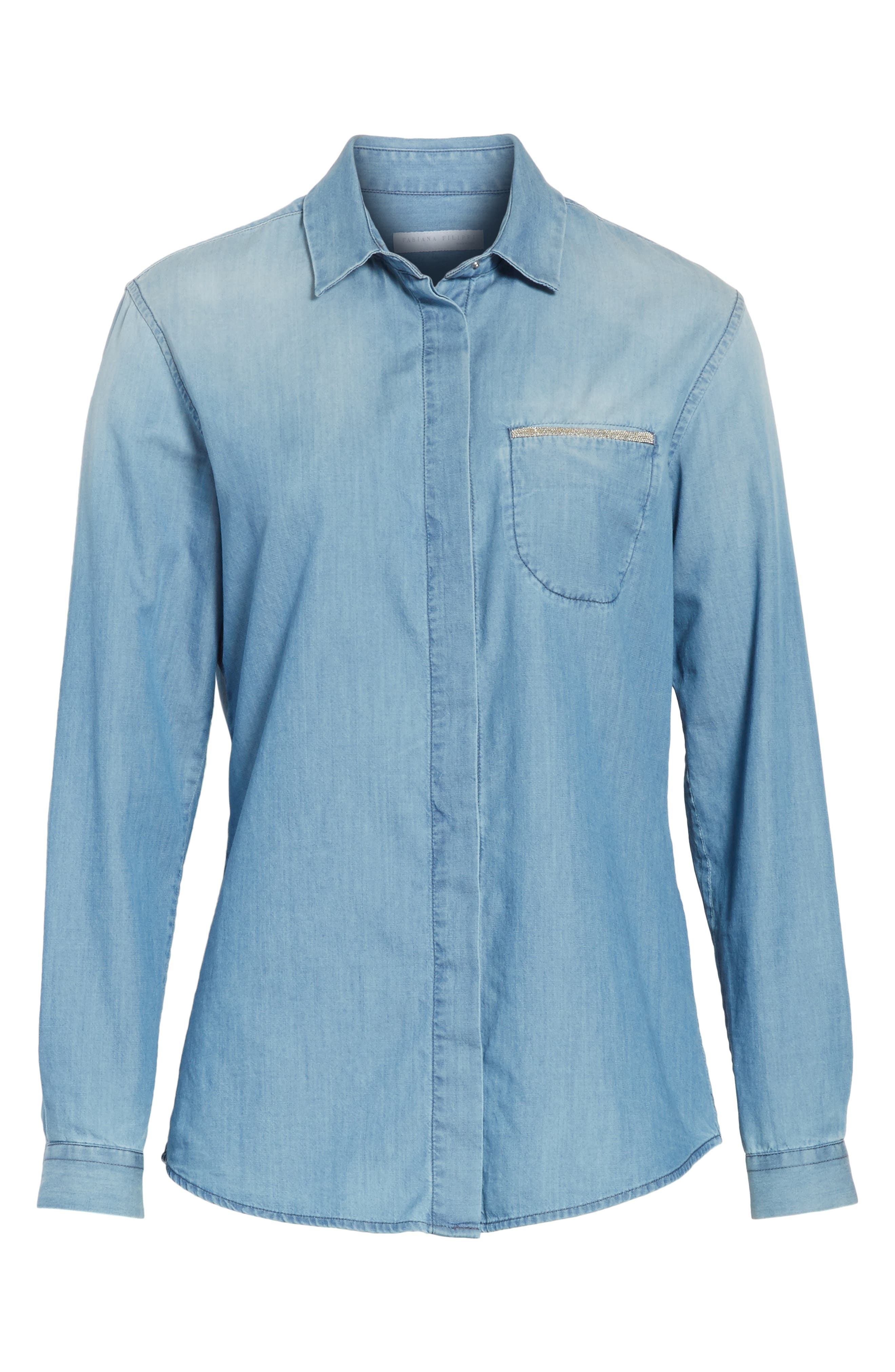 Cotton & Cashmere Chambray Blouse,                             Alternate thumbnail 7, color,                             Denim Blue
