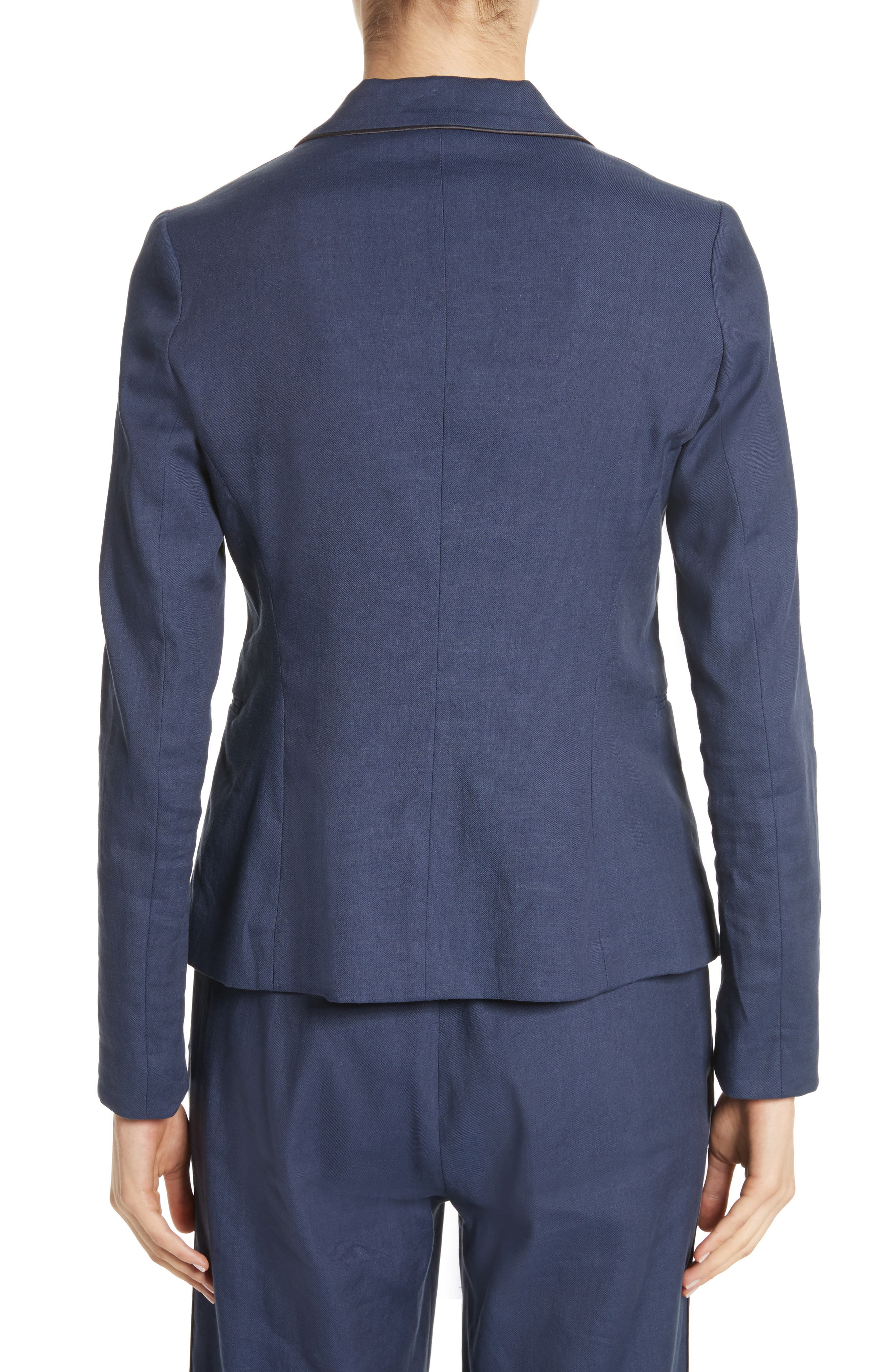 Piped Linen & Cotton Blend Blazer,                             Alternate thumbnail 2, color,                             Navy
