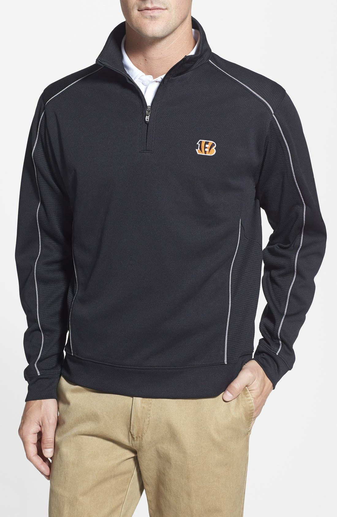 Cincinnati Bengals - Edge DryTec Moisture Wicking Half Zip Pullover,                             Main thumbnail 1, color,                             Black