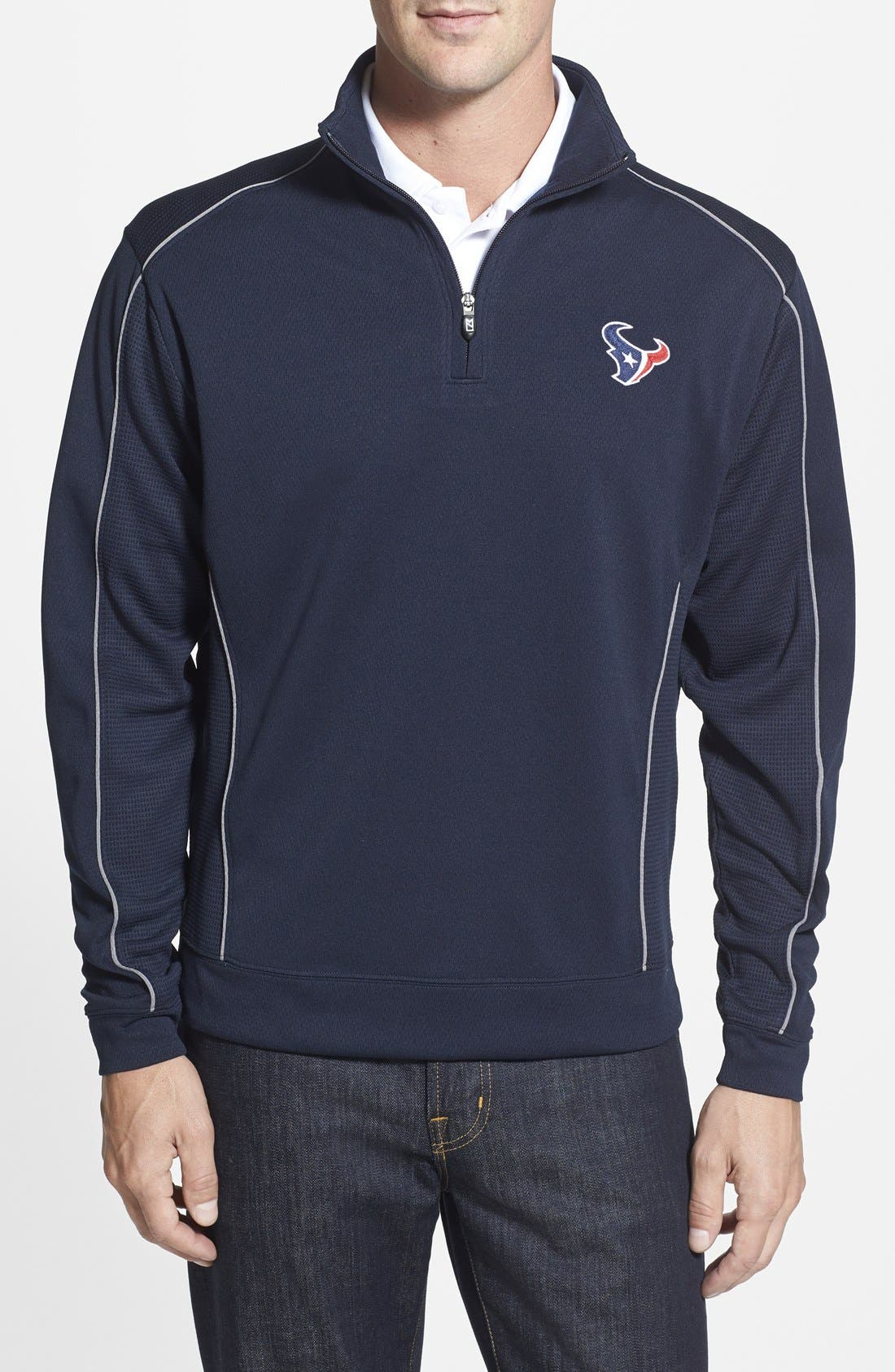 Cutter & Buck 'Houston Texans - Edge' DryTec Moisture Wicking Half Zip Pullover (Big & Tall)