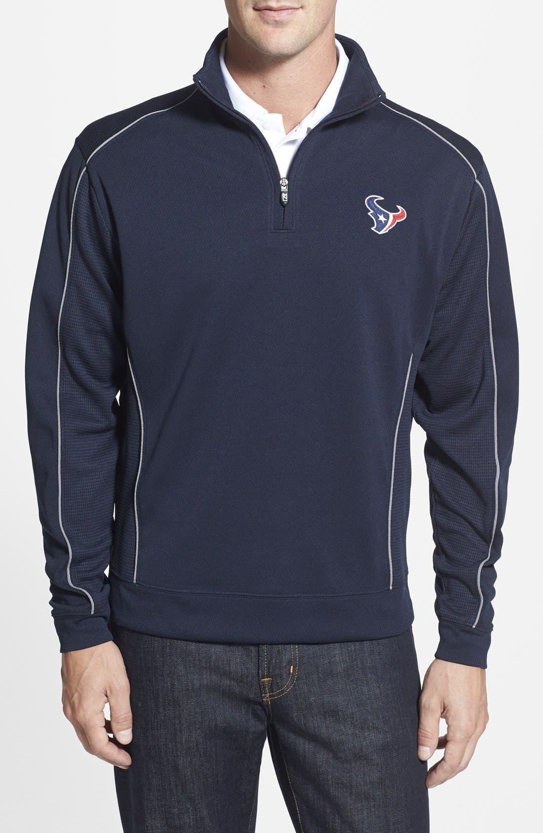 Cutter & Buck Houston Texans - Edge DryTec Moisture Wicking Half Zip Pullover