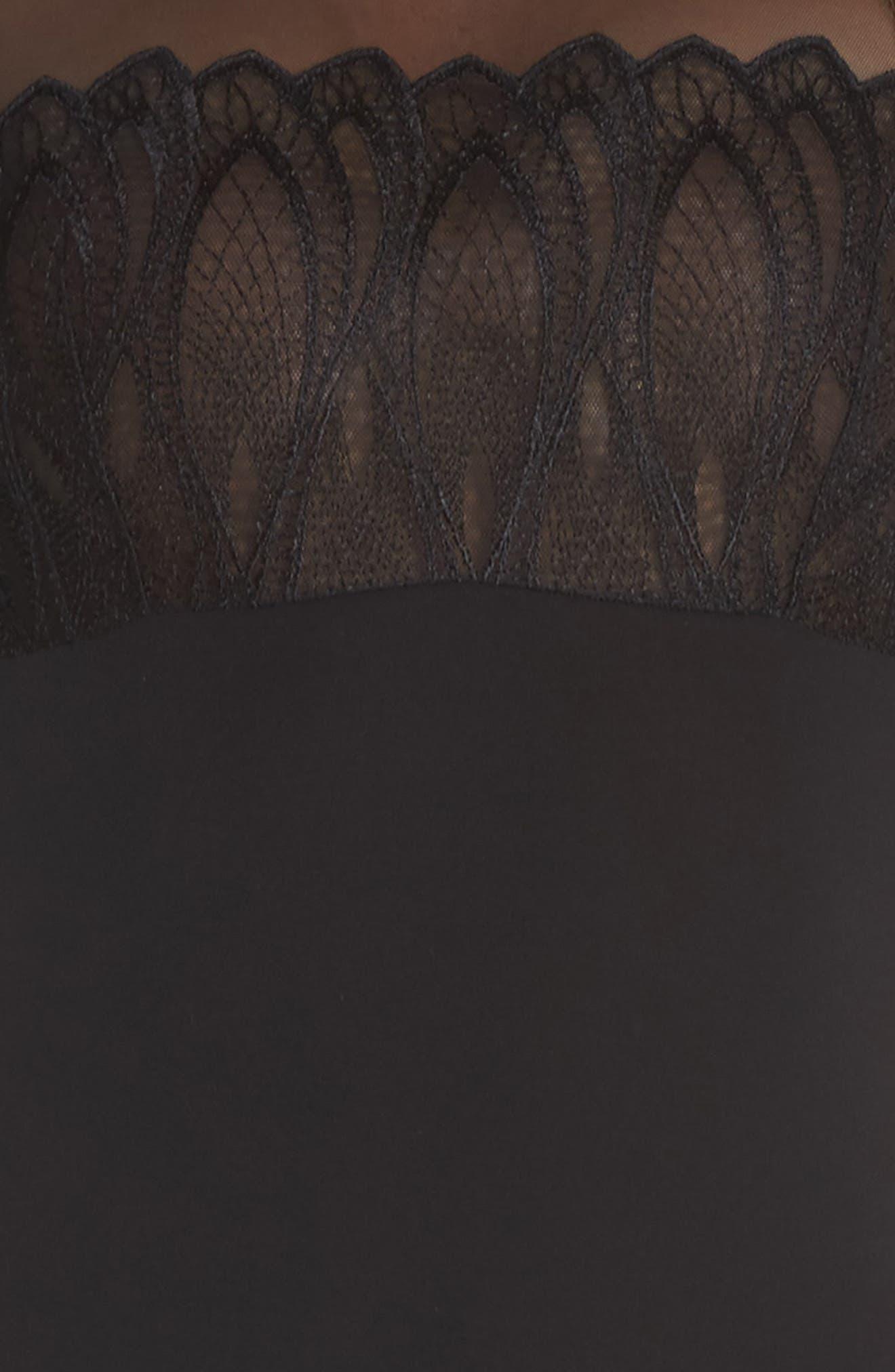 Mesh Yoke Bodysuit,                             Alternate thumbnail 6, color,                             Black
