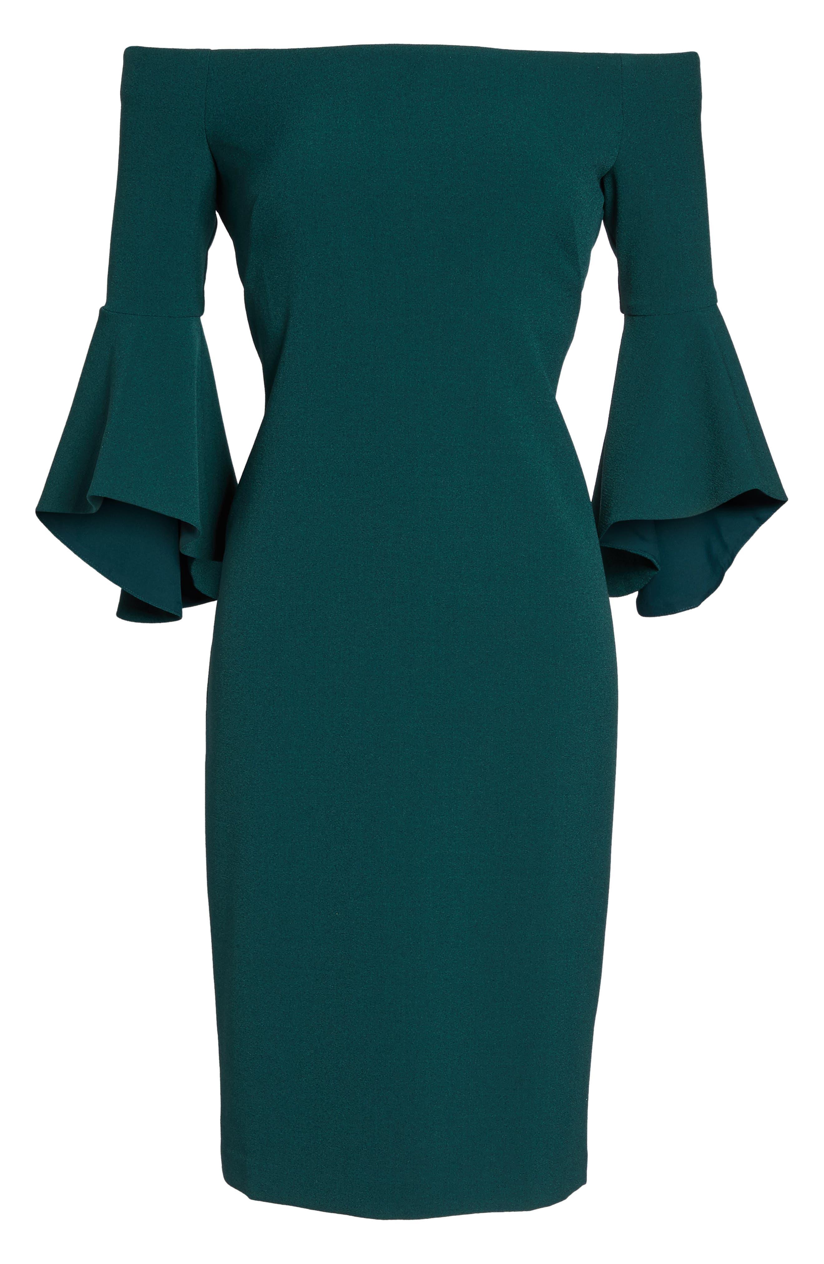 Off the Shoulder Dress,                             Alternate thumbnail 6, color,                             Green Botanical