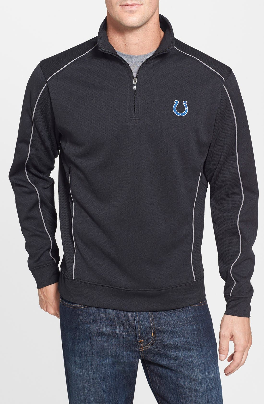 Indianapolis Colts - Edge DryTec Moisture Wicking Half Zip Pullover,                             Main thumbnail 1, color,                             Black