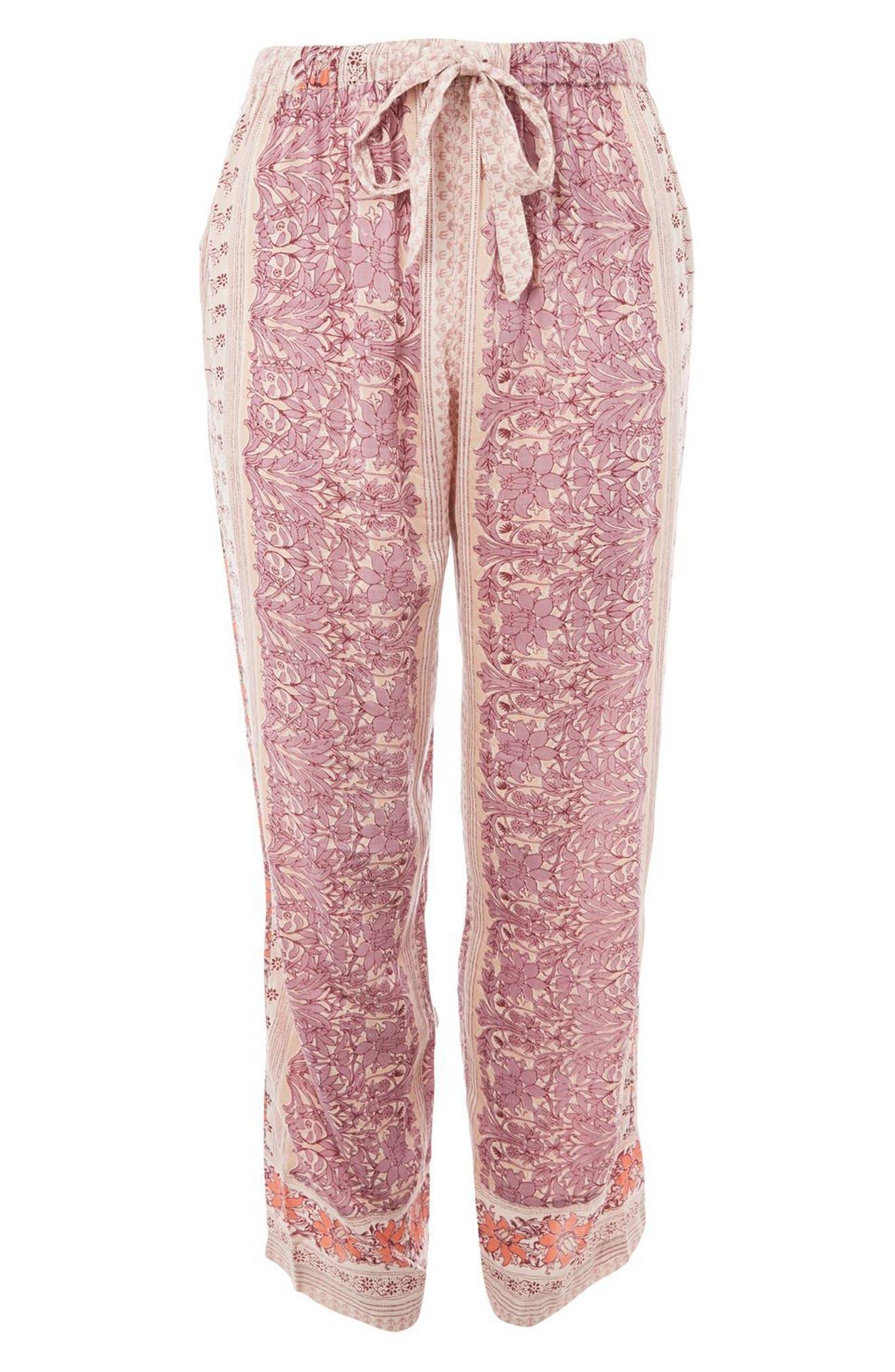 Bohemian Floral Print Pajama Pants,                             Alternate thumbnail 3, color,                             Lilac Multi