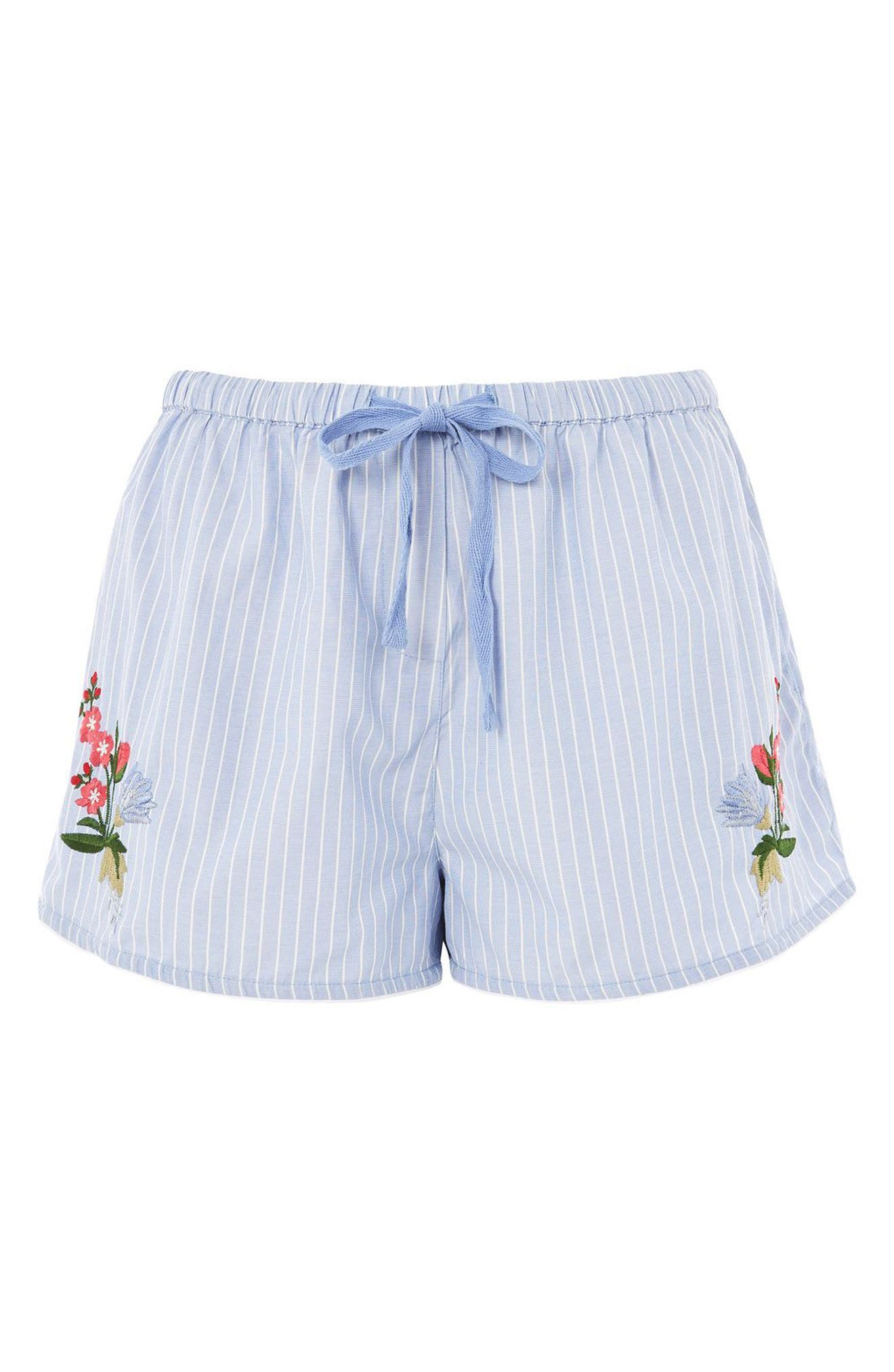 Embroidered Lounge Shorts,                             Main thumbnail 1, color,                             Blue Multi