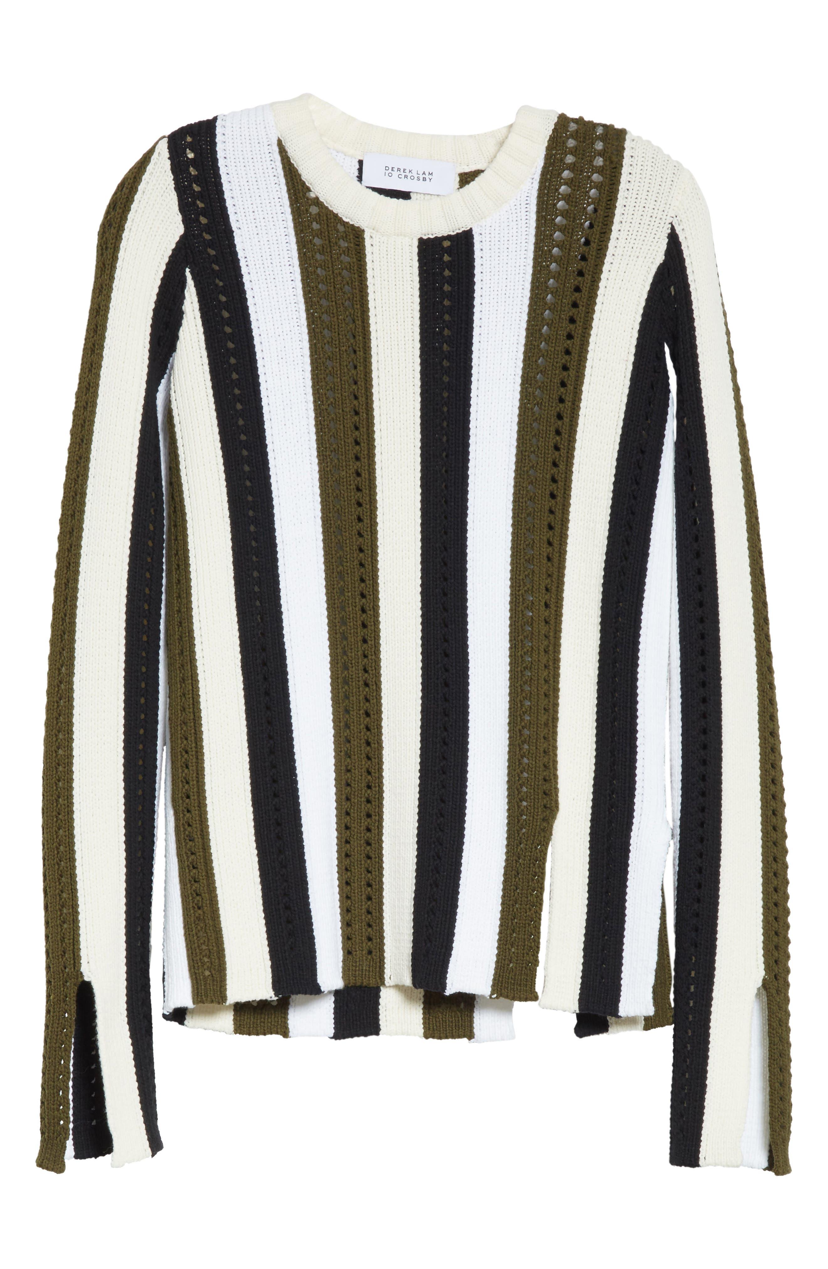 Pointelle Stripe Sweater,                             Alternate thumbnail 6, color,                             Army Multi