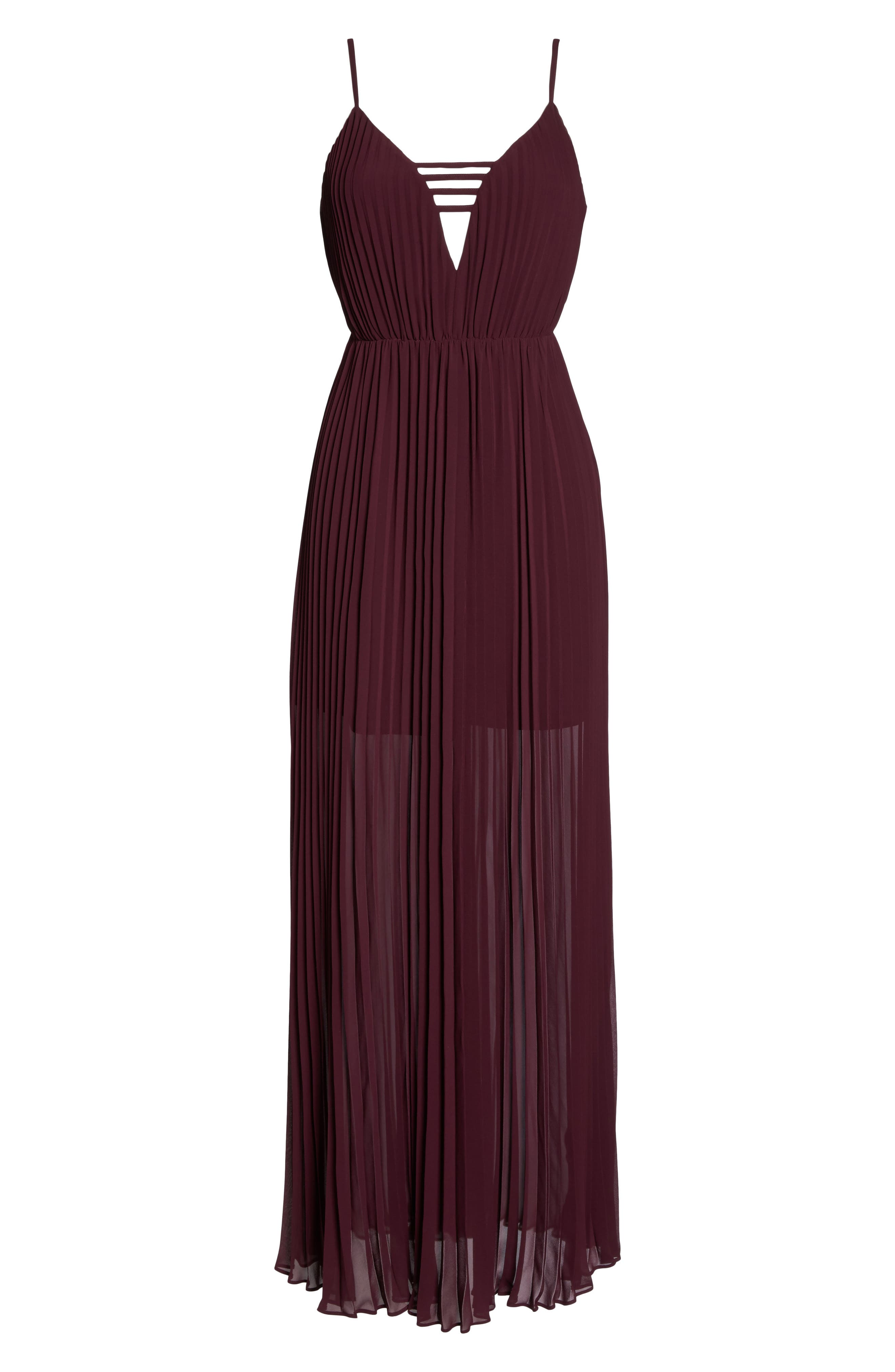 She Is A Regular Pleated Maxi Dress,                             Alternate thumbnail 7, color,                             Wine