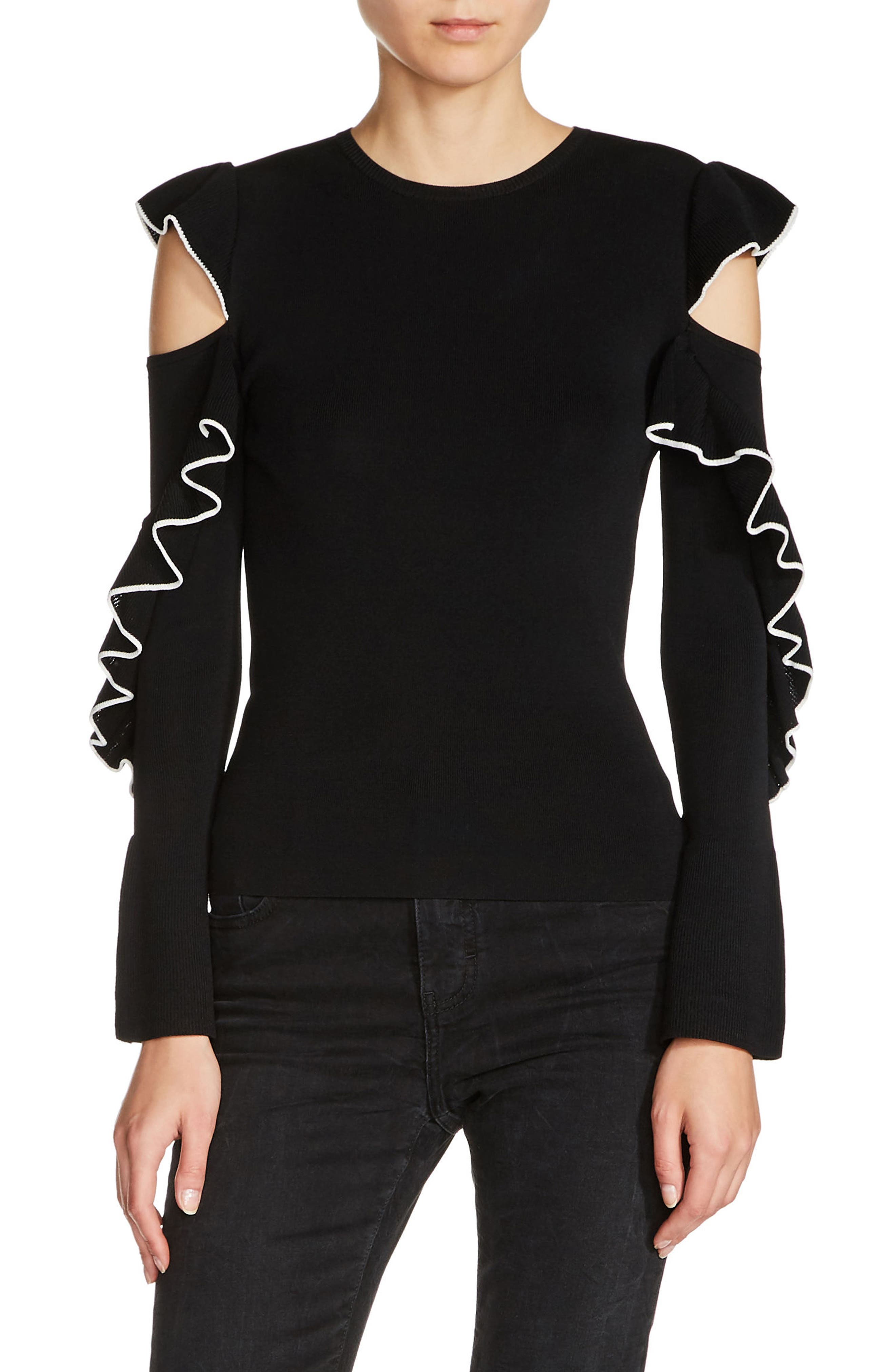 Tipped Ruffle Sleeve Sweater,                         Main,                         color, Black