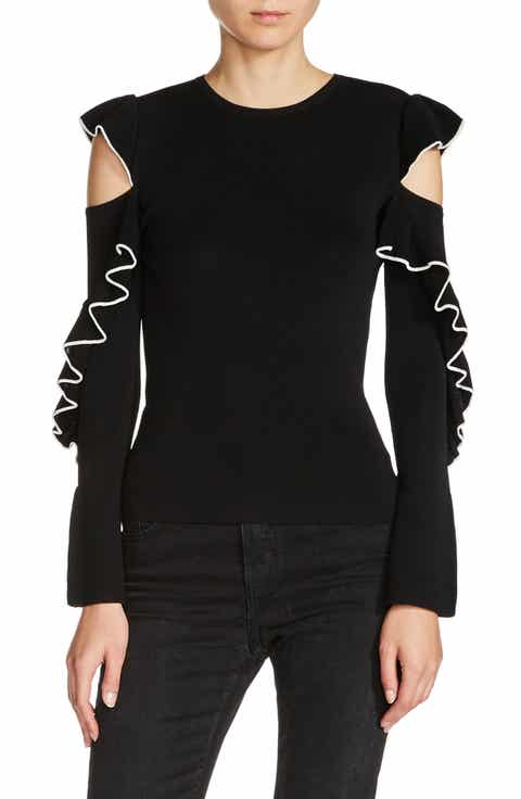 maje Tipped Ruffle Sleeve Sweater