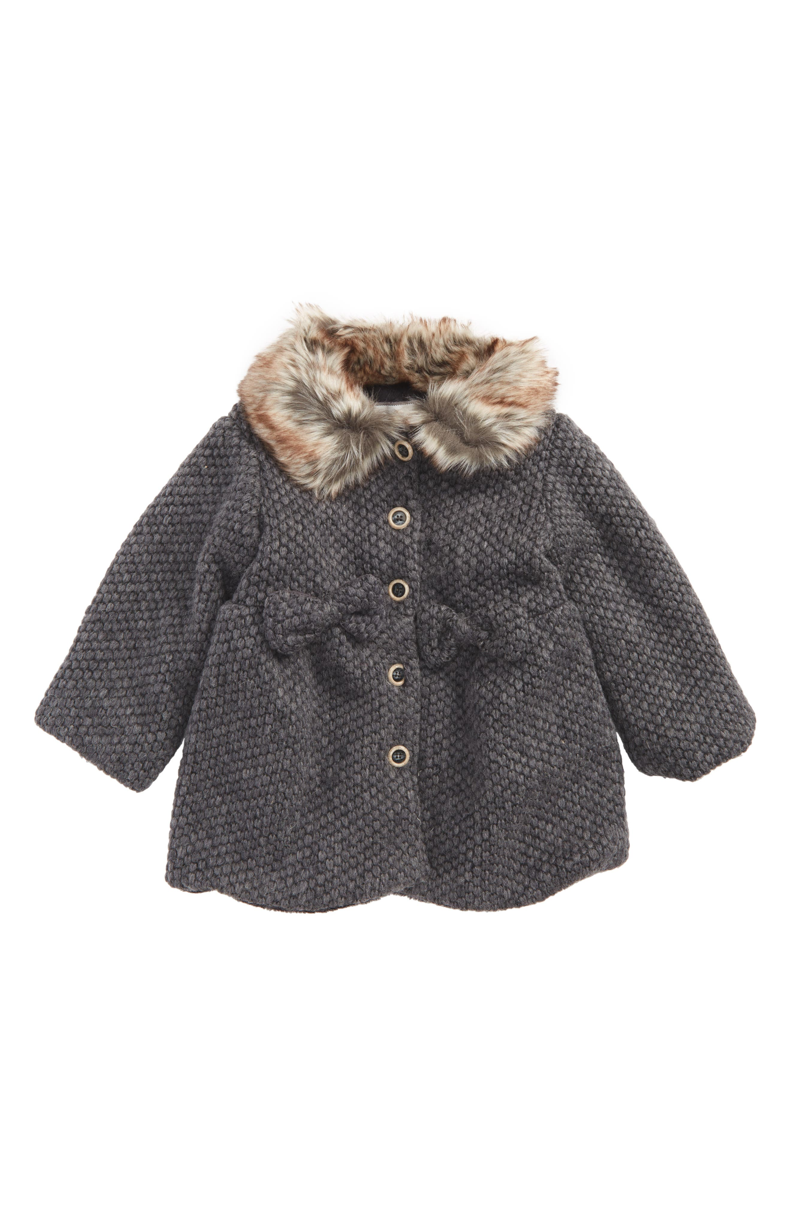 Widgeon Faux Fur Collar Coat (Baby Girls)