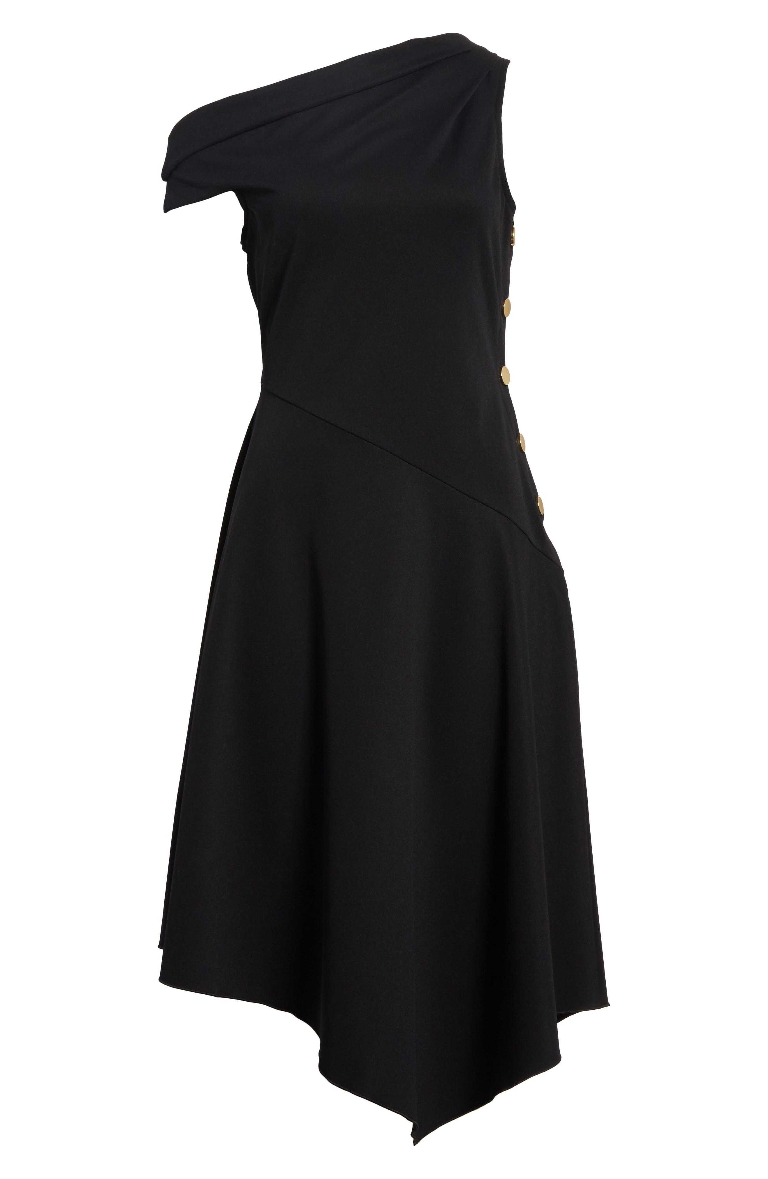 One-Shoulder Midi Dress,                             Alternate thumbnail 6, color,                             Black
