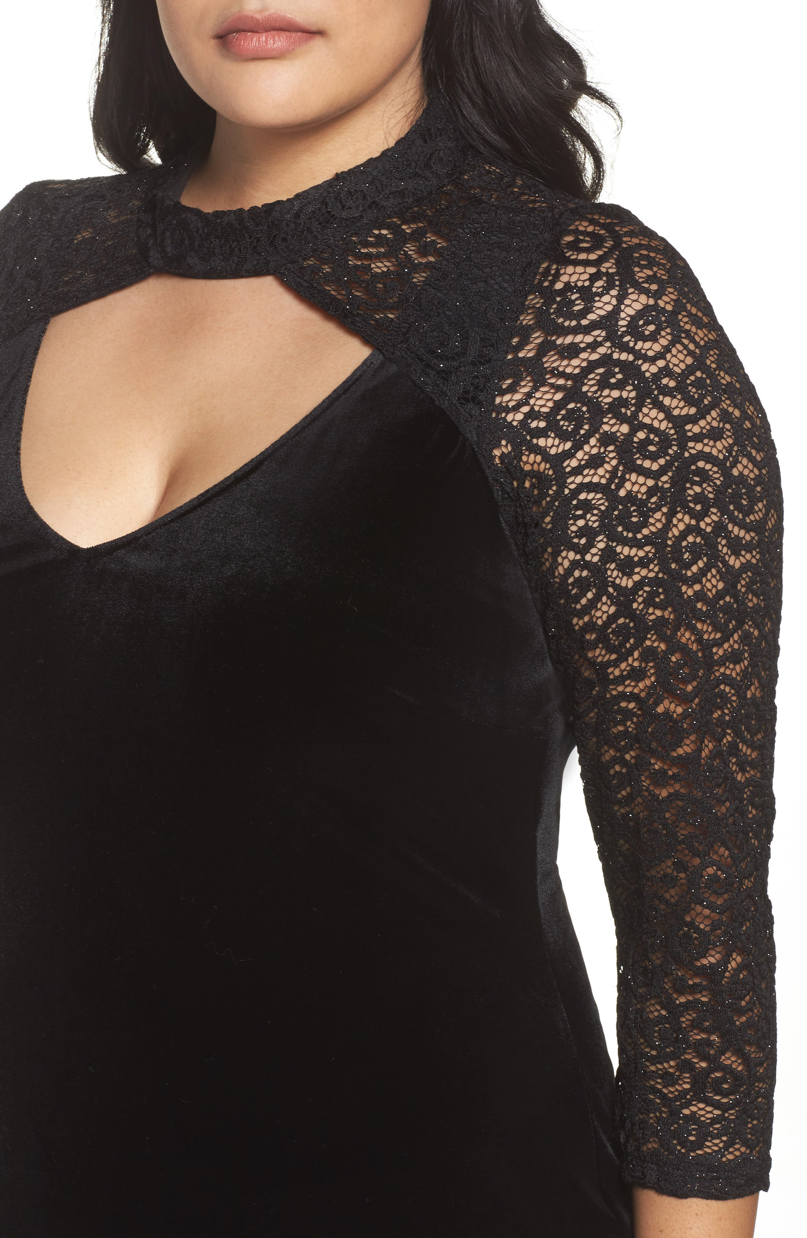Velvet & Glitter Lace Sheath Dress,                             Alternate thumbnail 4, color,                             Black