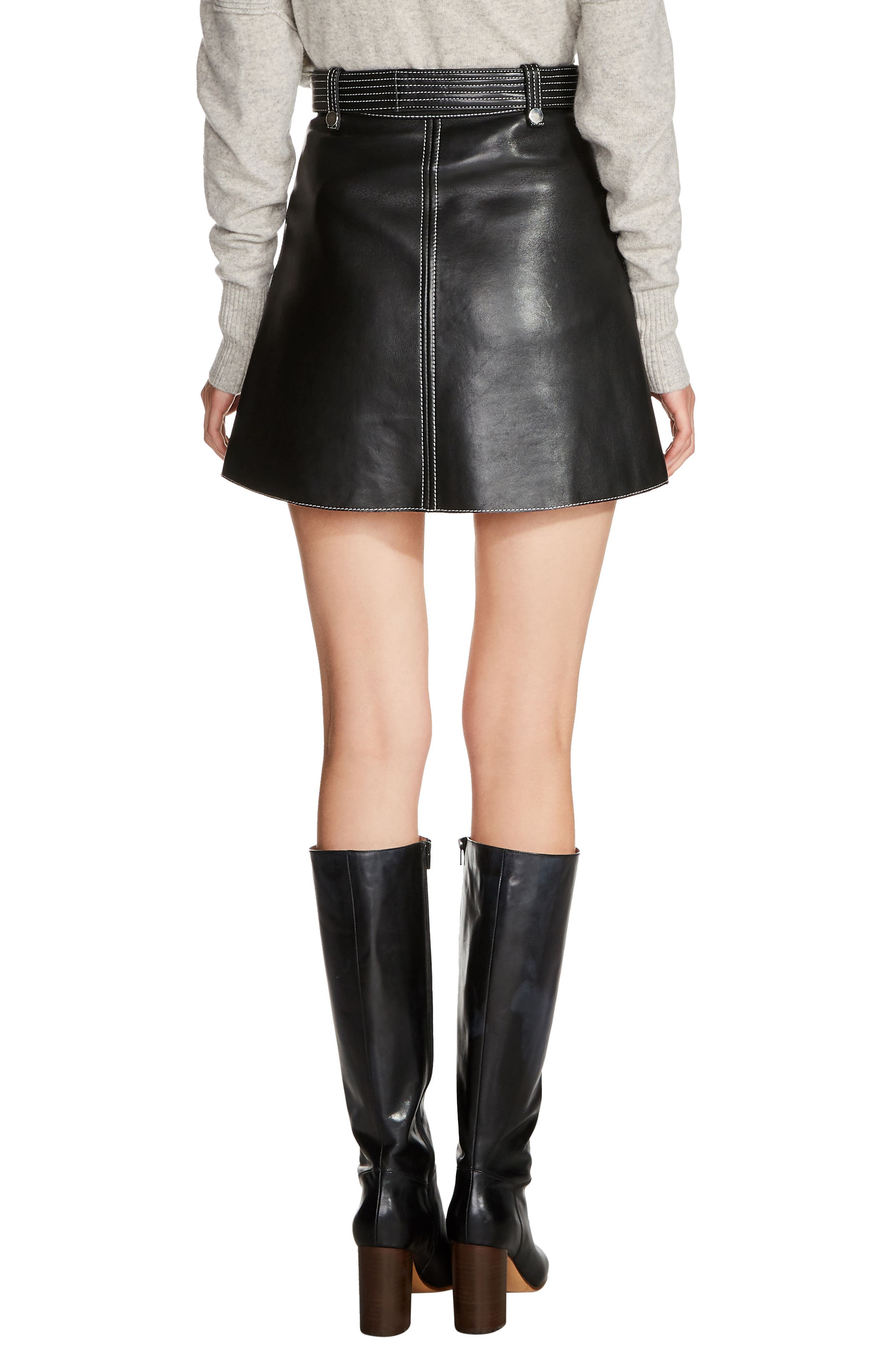 Belted A-Line Leather Miniskirt,                             Alternate thumbnail 2, color,                             Black