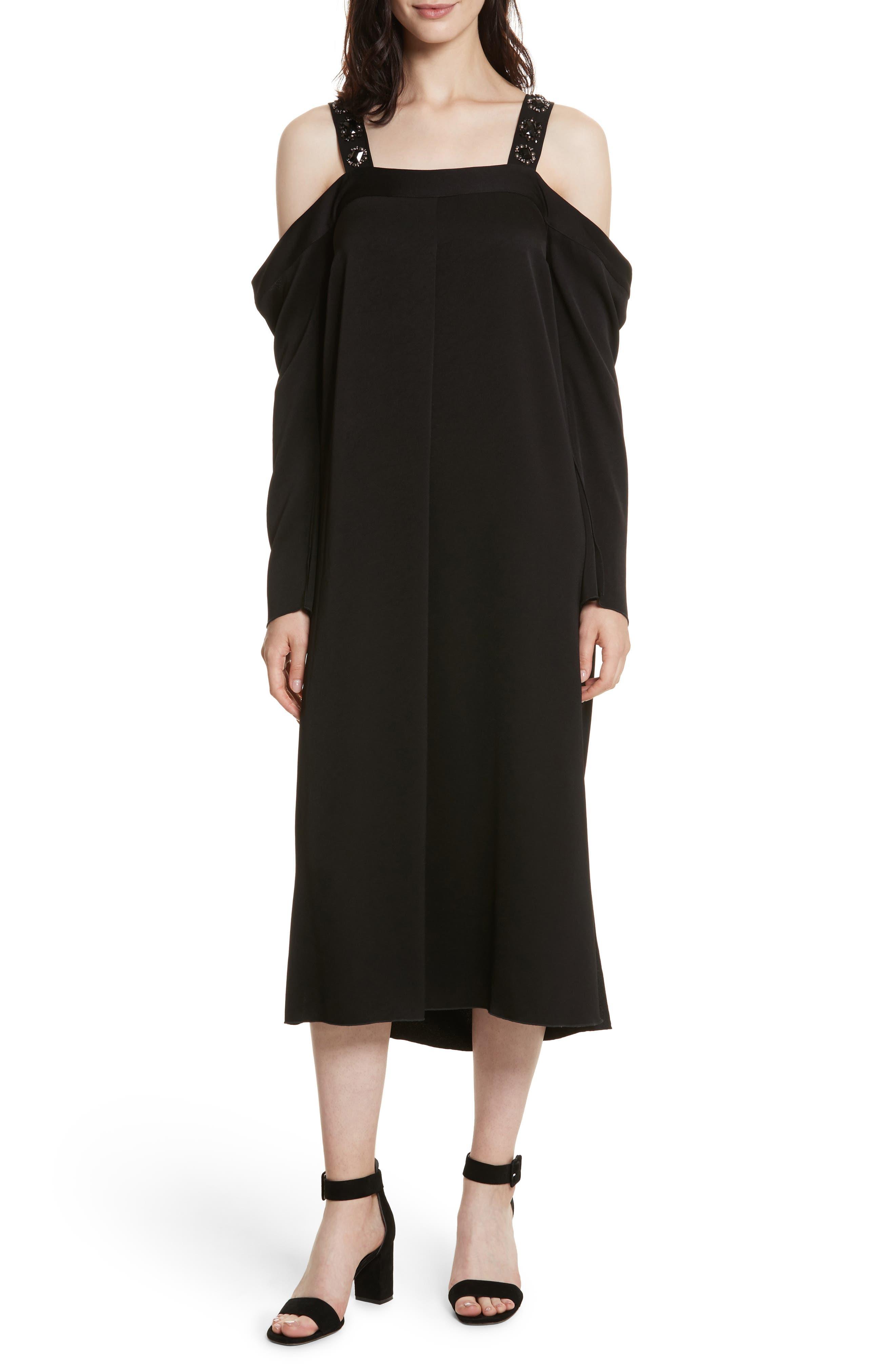 Fynn Embellished Cold Shoulder Midi Dress,                         Main,                         color, Black