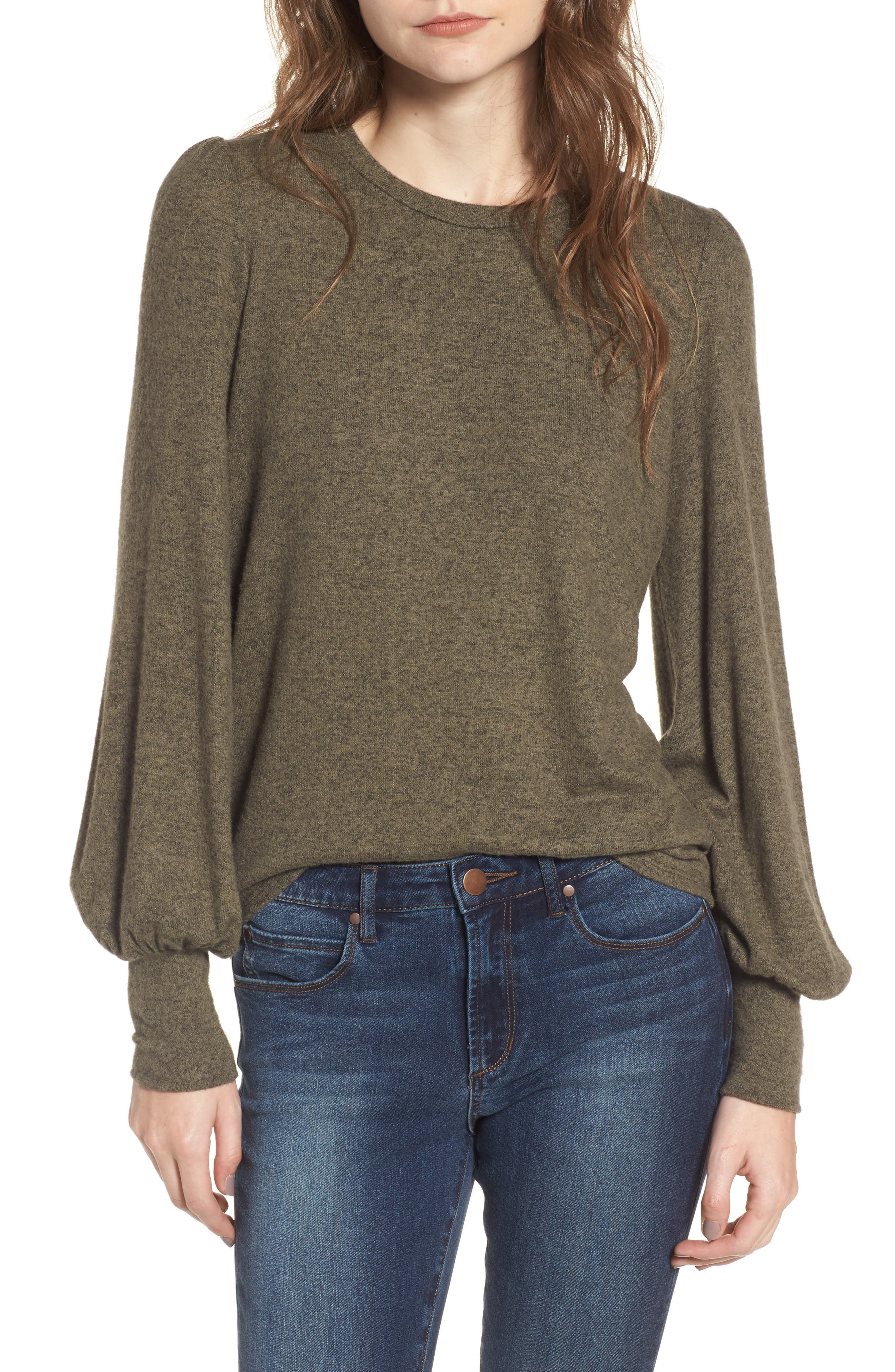 Bell Sleeve Pullover,                         Main,                         color, Green