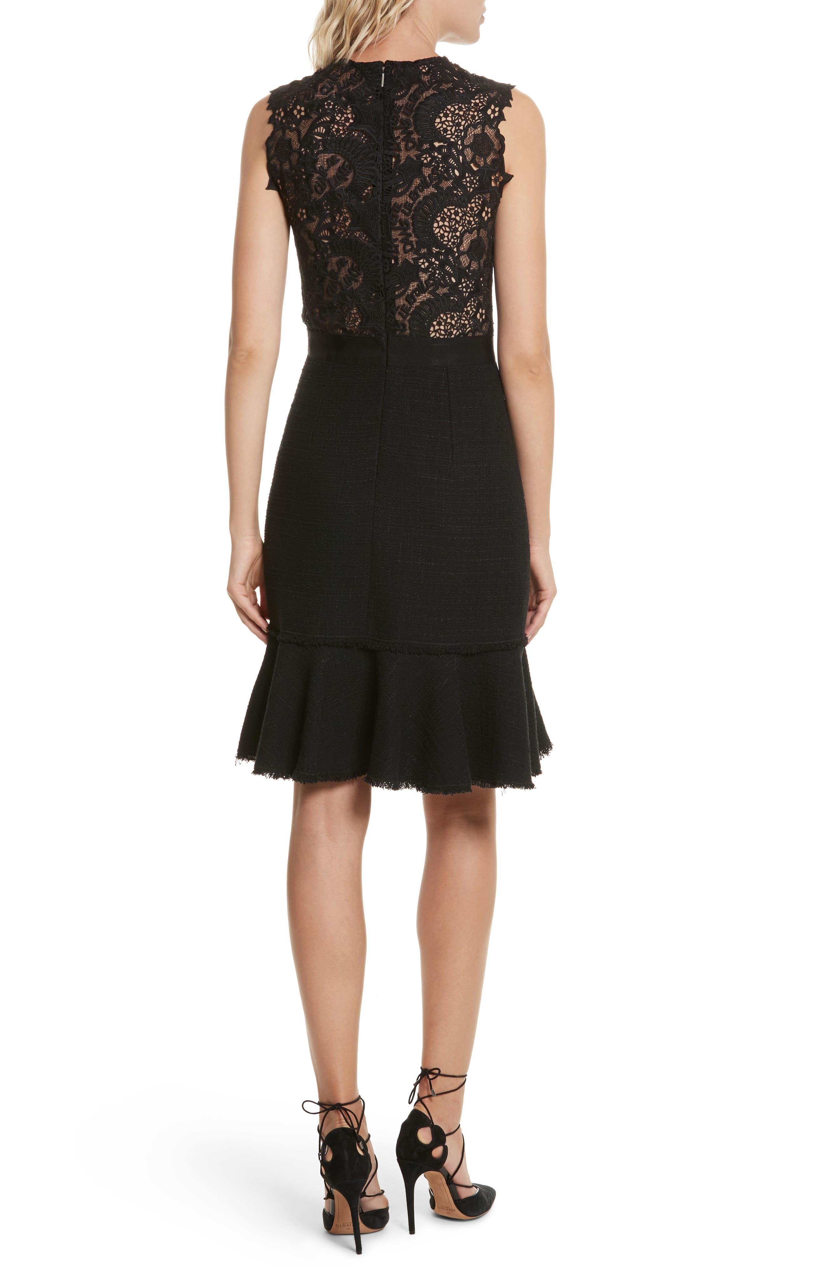 Lace Back Crepe & Tweed Dress,                             Alternate thumbnail 2, color,                             Black