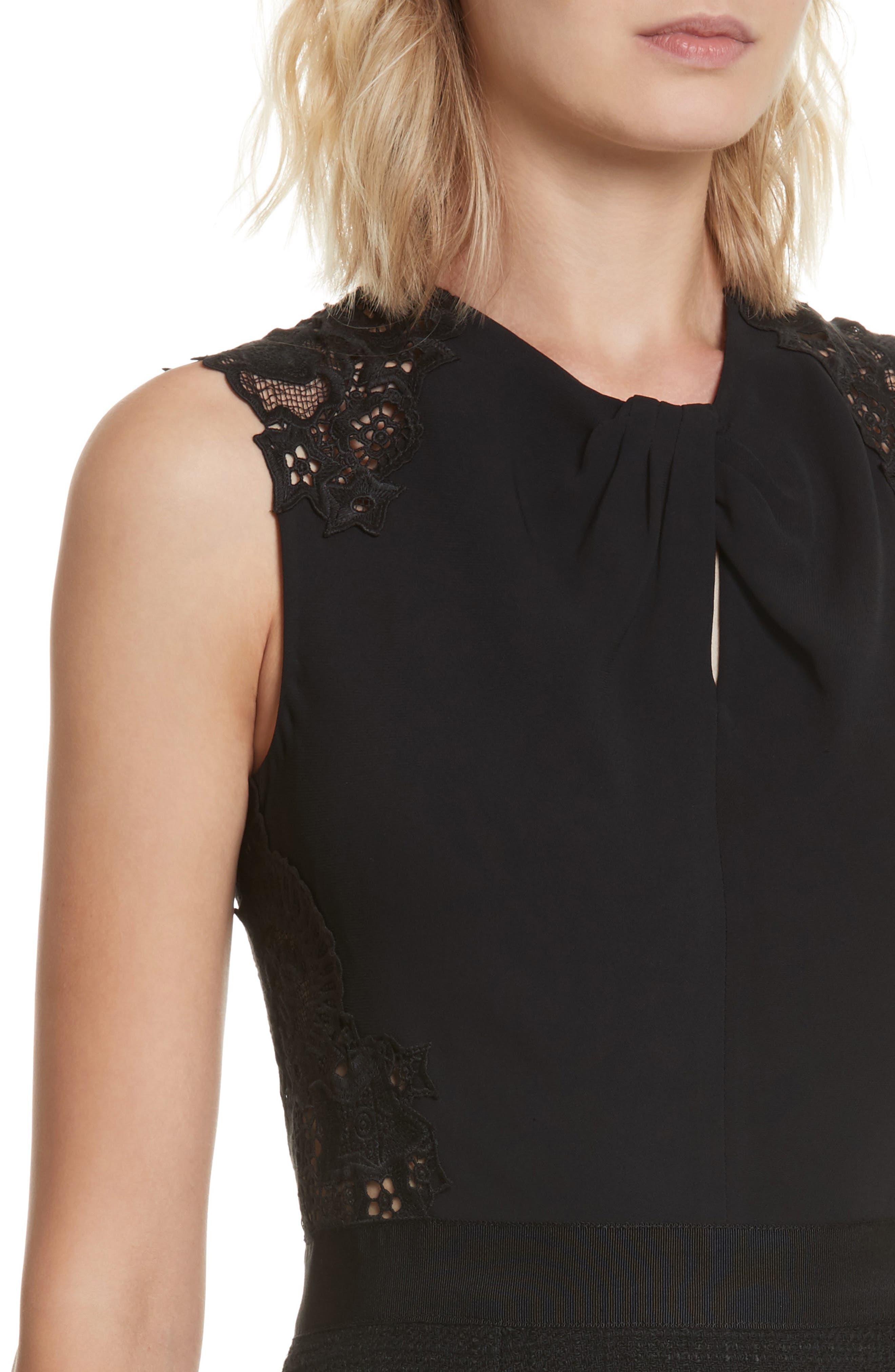 Lace Back Crepe & Tweed Dress,                             Alternate thumbnail 4, color,                             Black