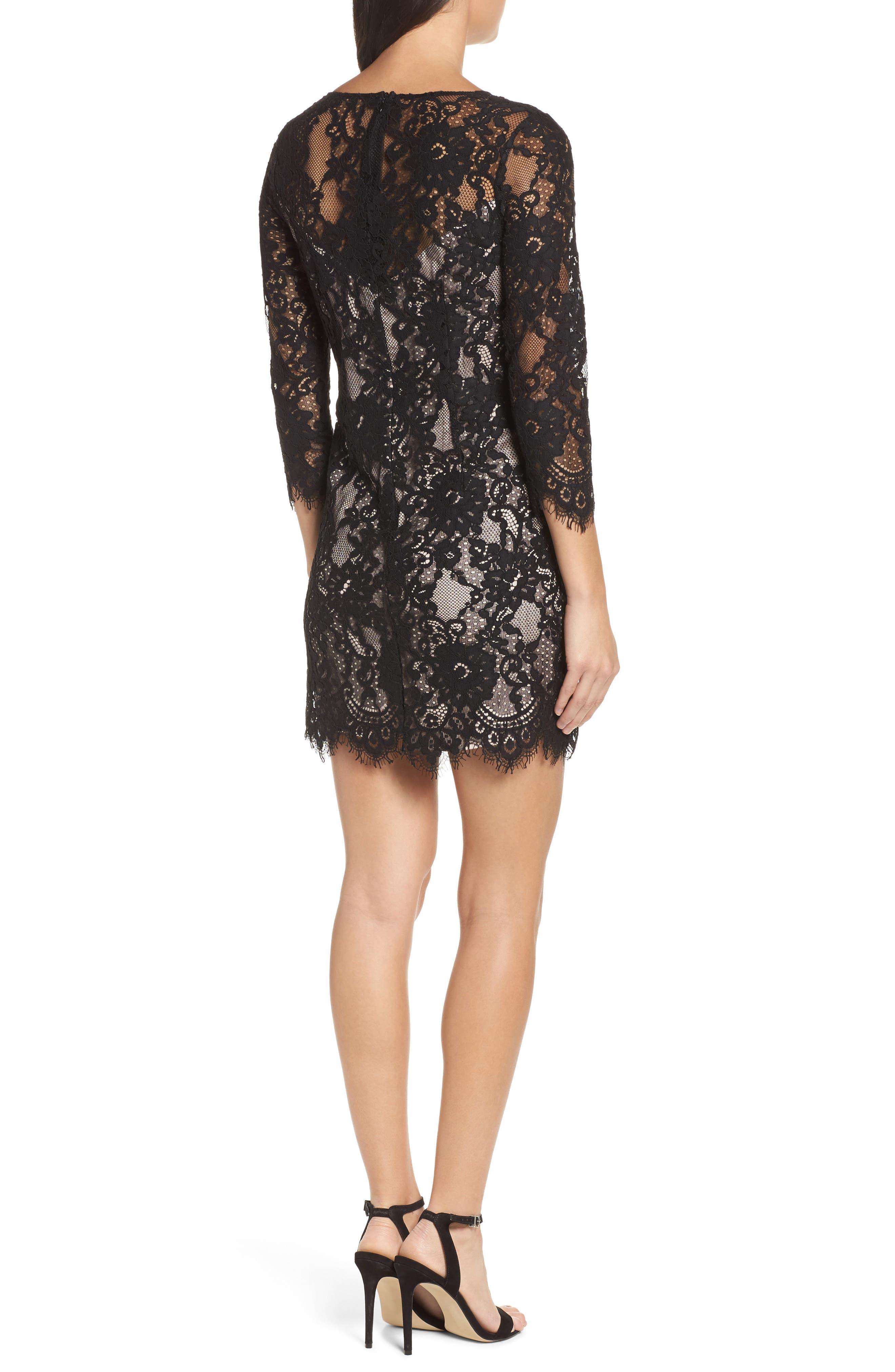 Hale Lace Sheath Dress,                             Alternate thumbnail 2, color,                             Black