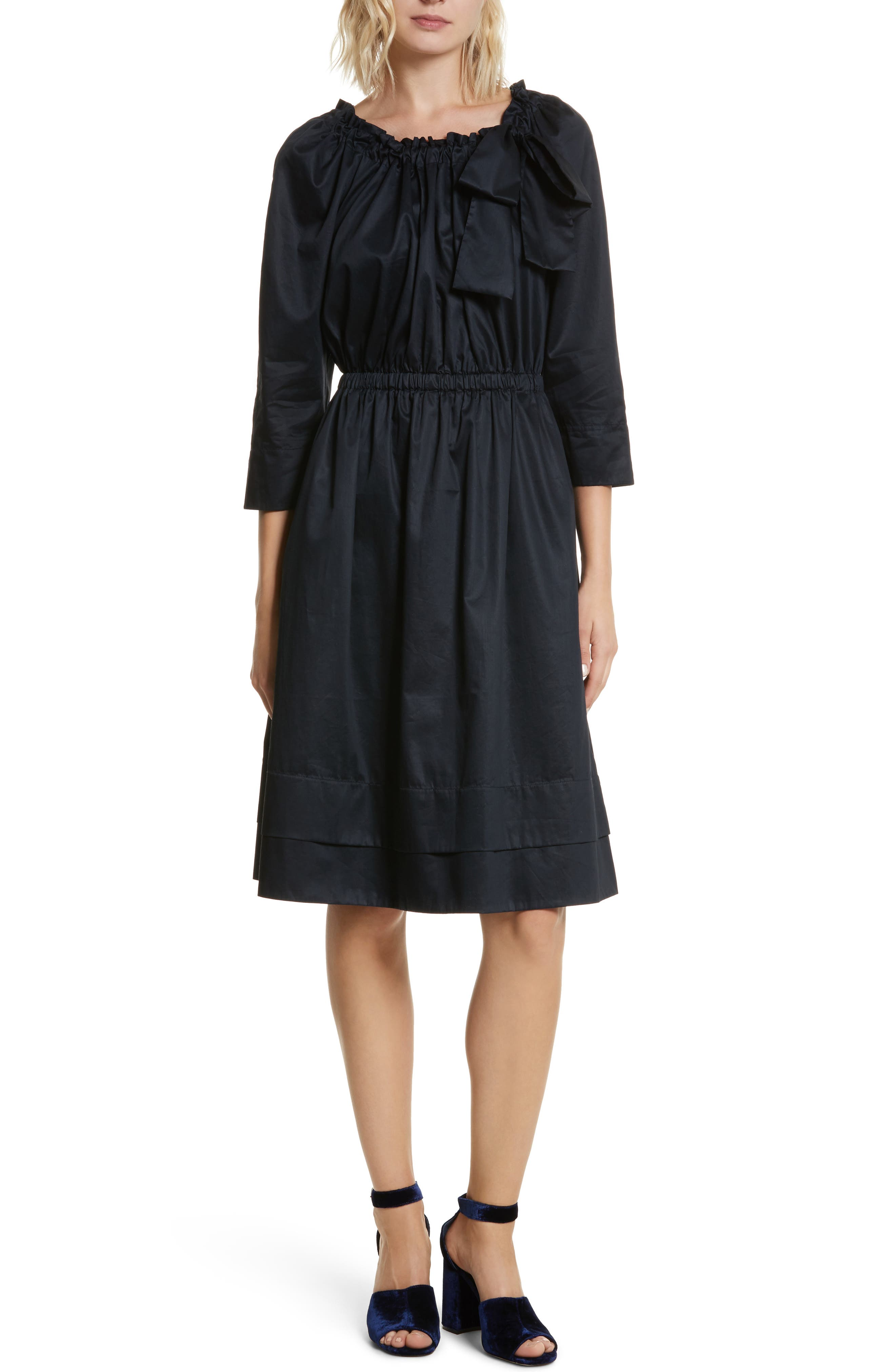 Bow Neck Washed Sateen Dress,                         Main,                         color, Midnight Navy