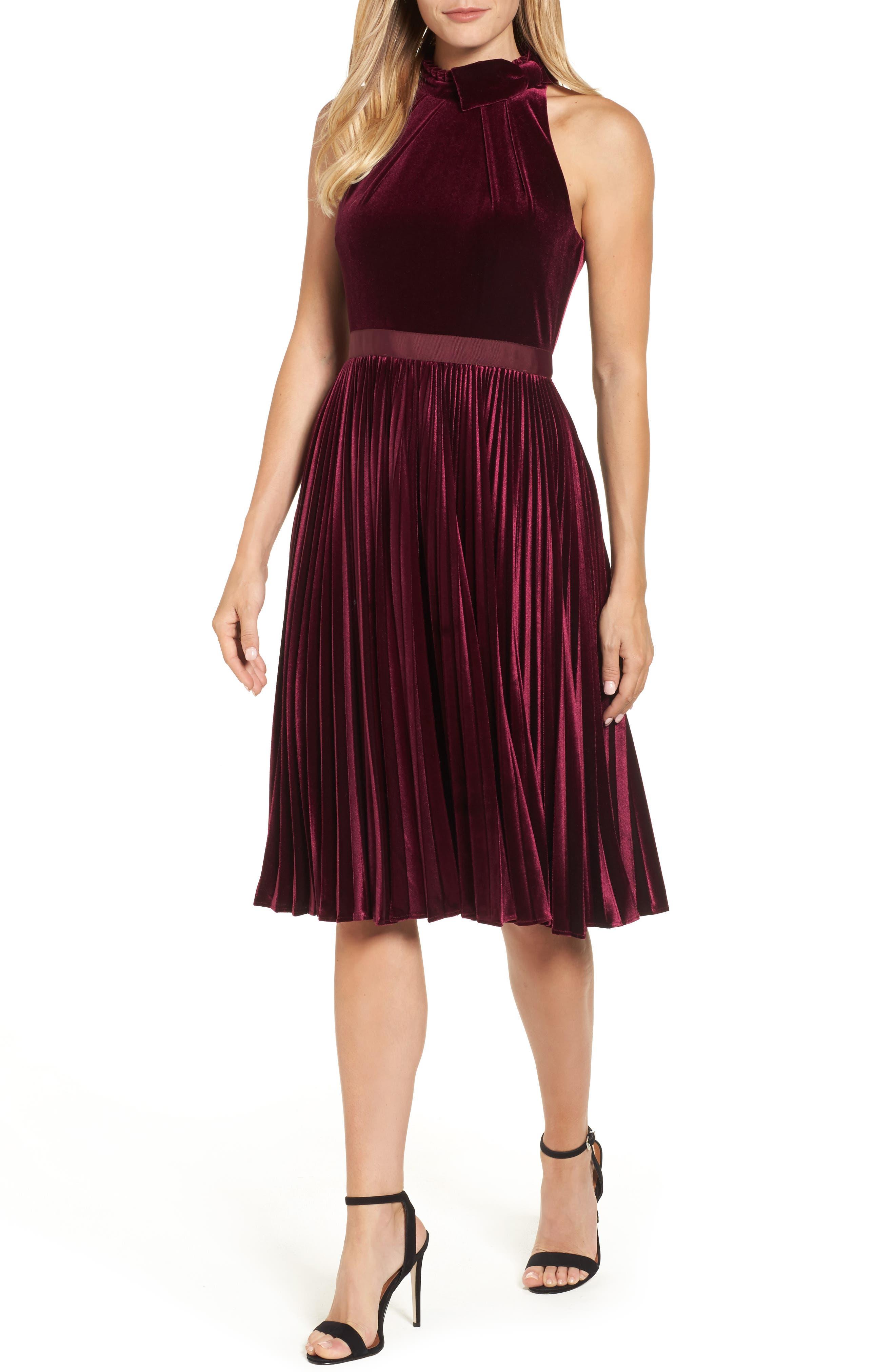 Cornela Pleated Velvet Dress,                             Main thumbnail 1, color,                             Oxblood