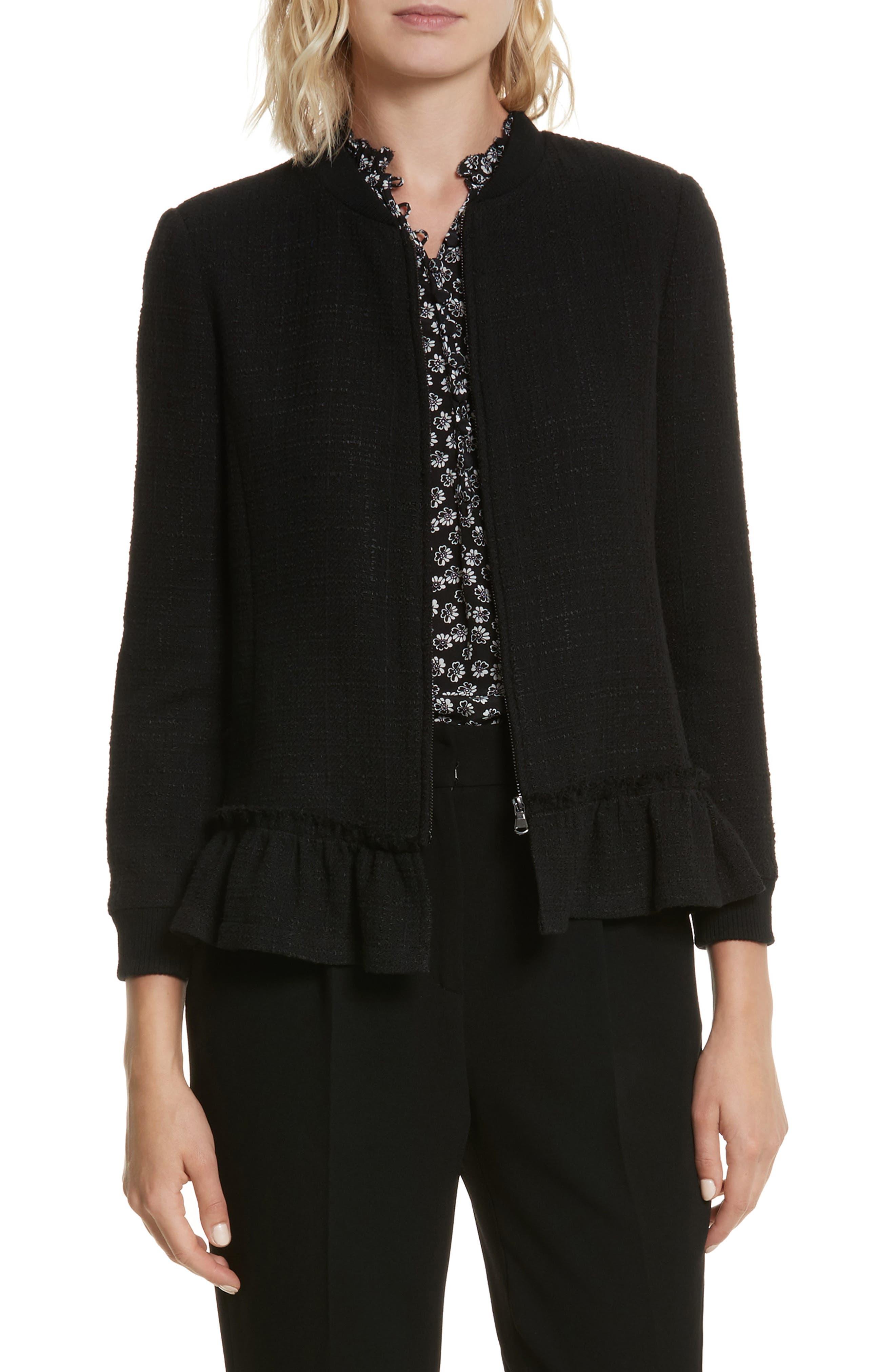 Textured Tweed Jacket,                             Main thumbnail 1, color,                             Black