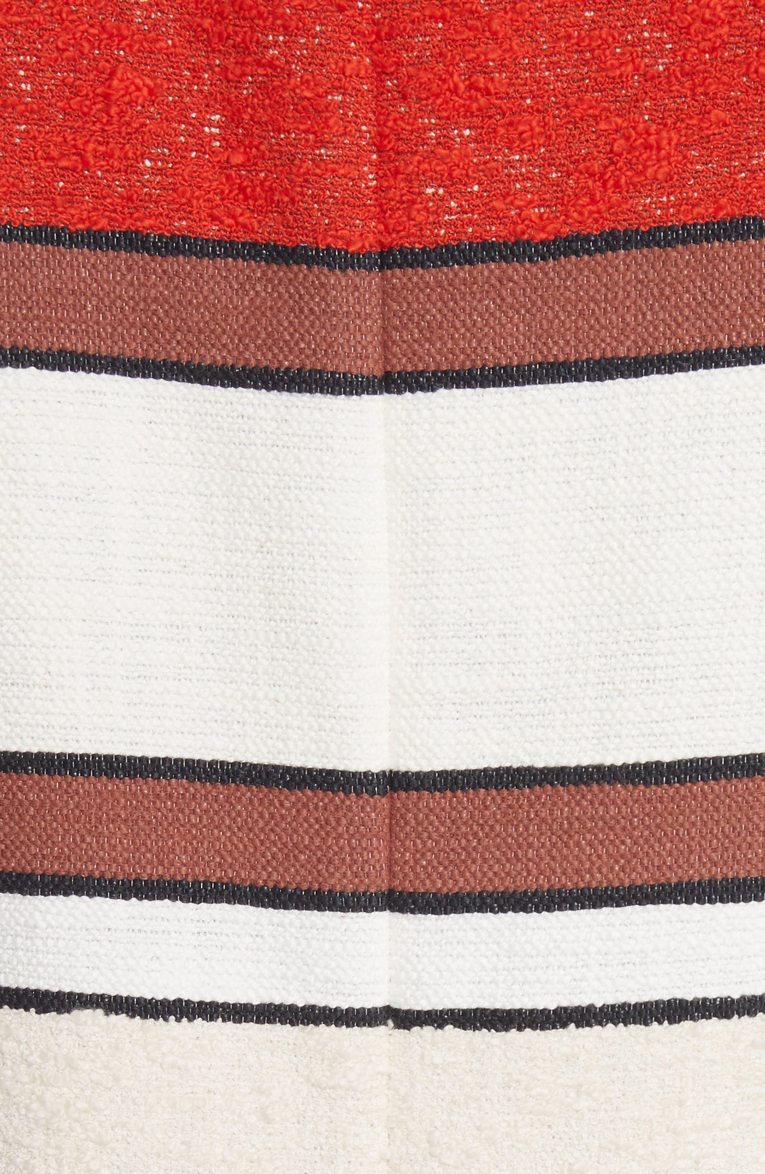 Grommet Detail Stripe Shift Dress,                             Alternate thumbnail 5, color,                             Poppy