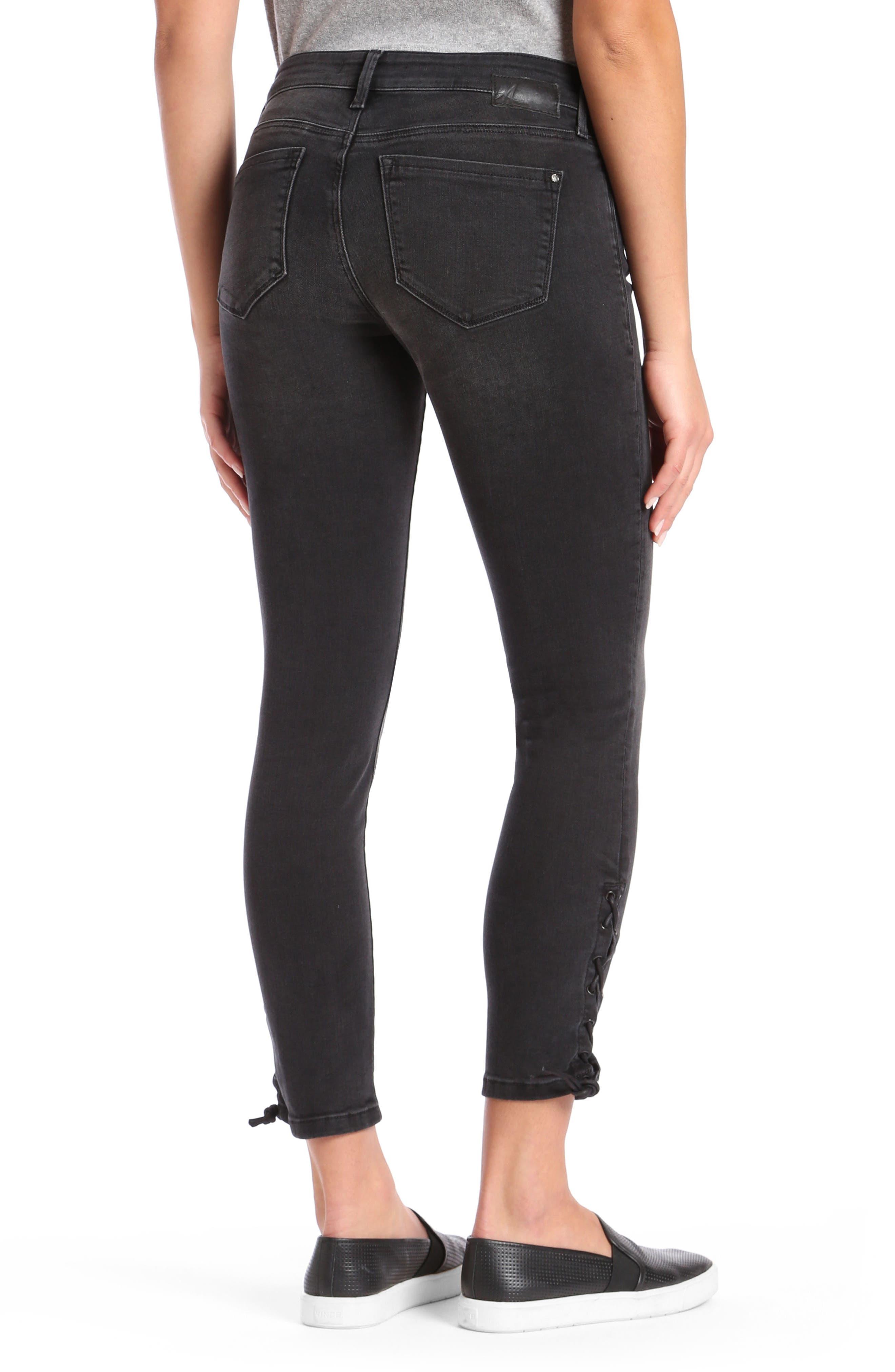 Alternate Image 3  - Mavi Adriana Lace Up Ankle Super Skinny Jeans (Smoke Lace)