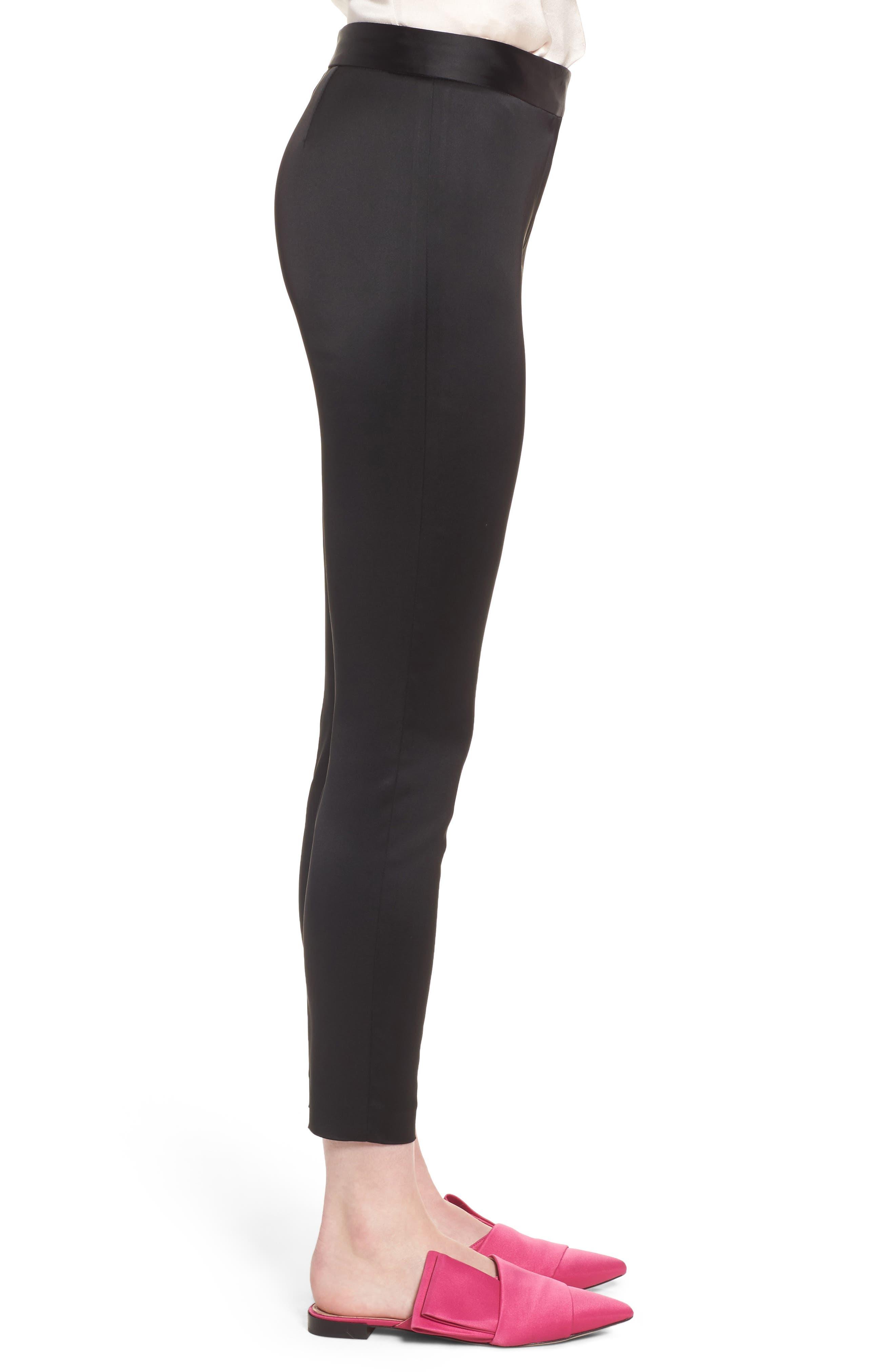 Stretch Satin Skinny Trousers,                             Alternate thumbnail 3, color,                             Black