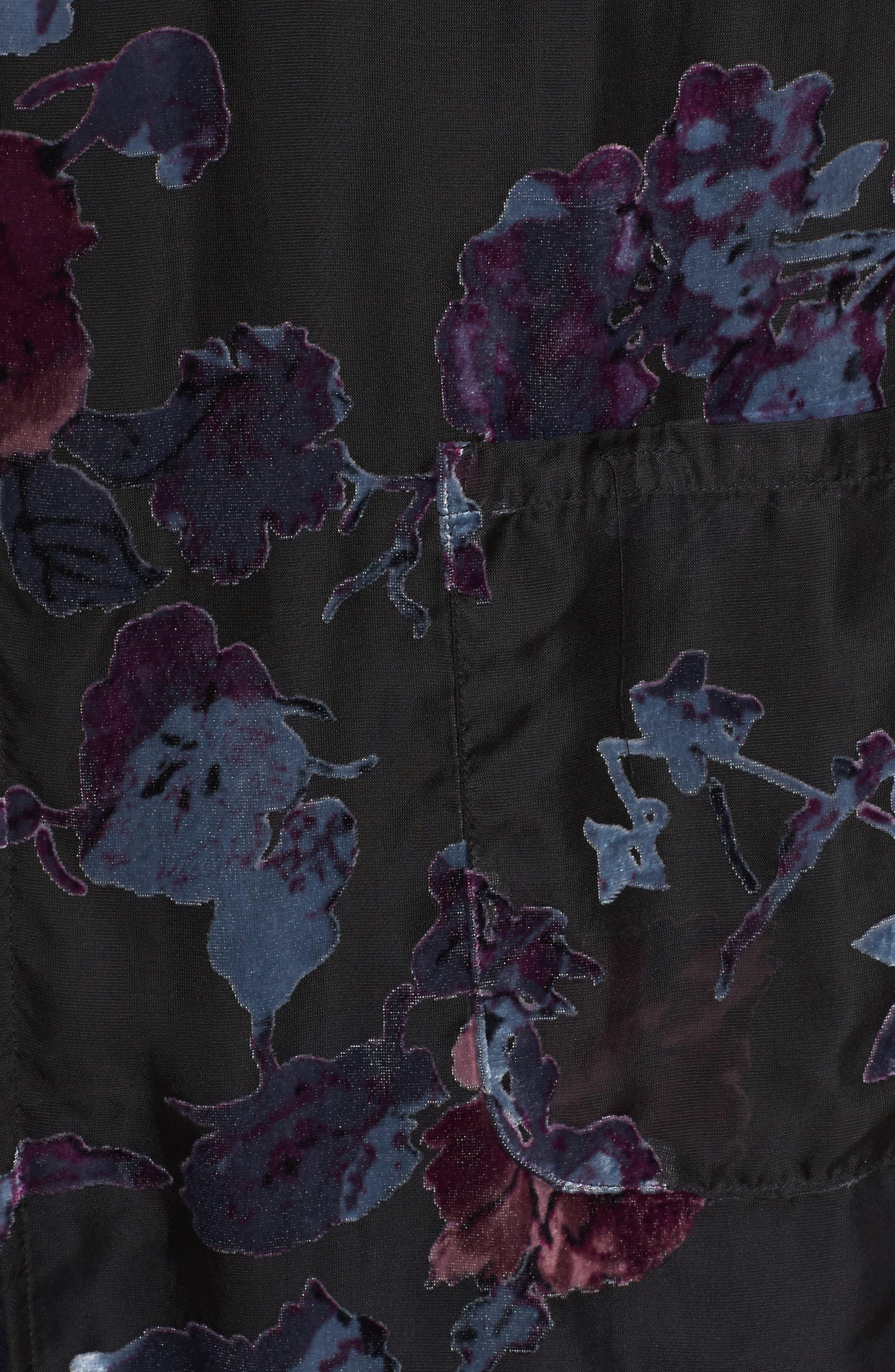 Burnout Velvet Kimono Jacket,                             Alternate thumbnail 5, color,                             Black